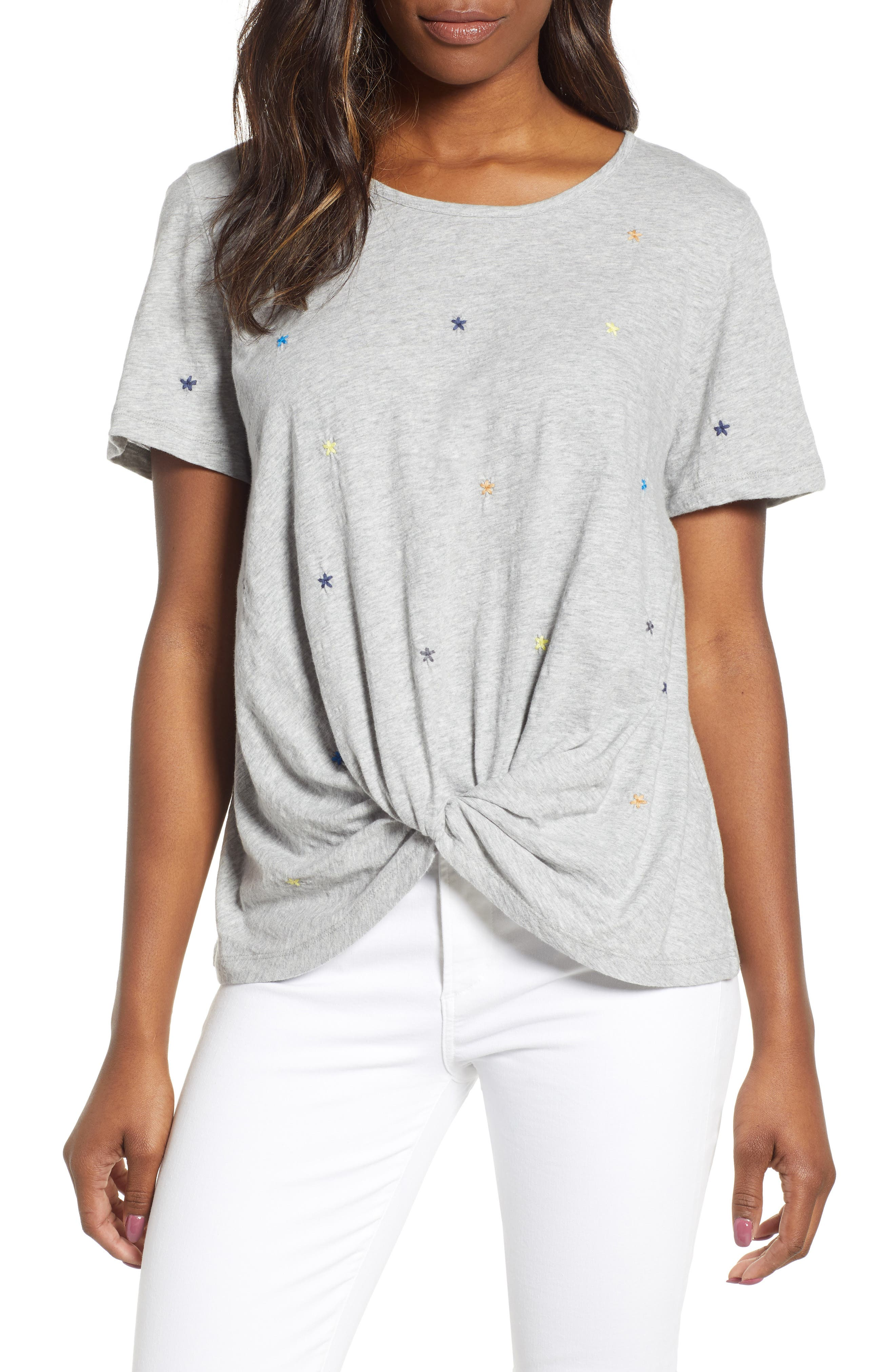 CASLON<SUP>®</SUP> Embroidered Twist Front Top, Main, color, GREY HEATHER