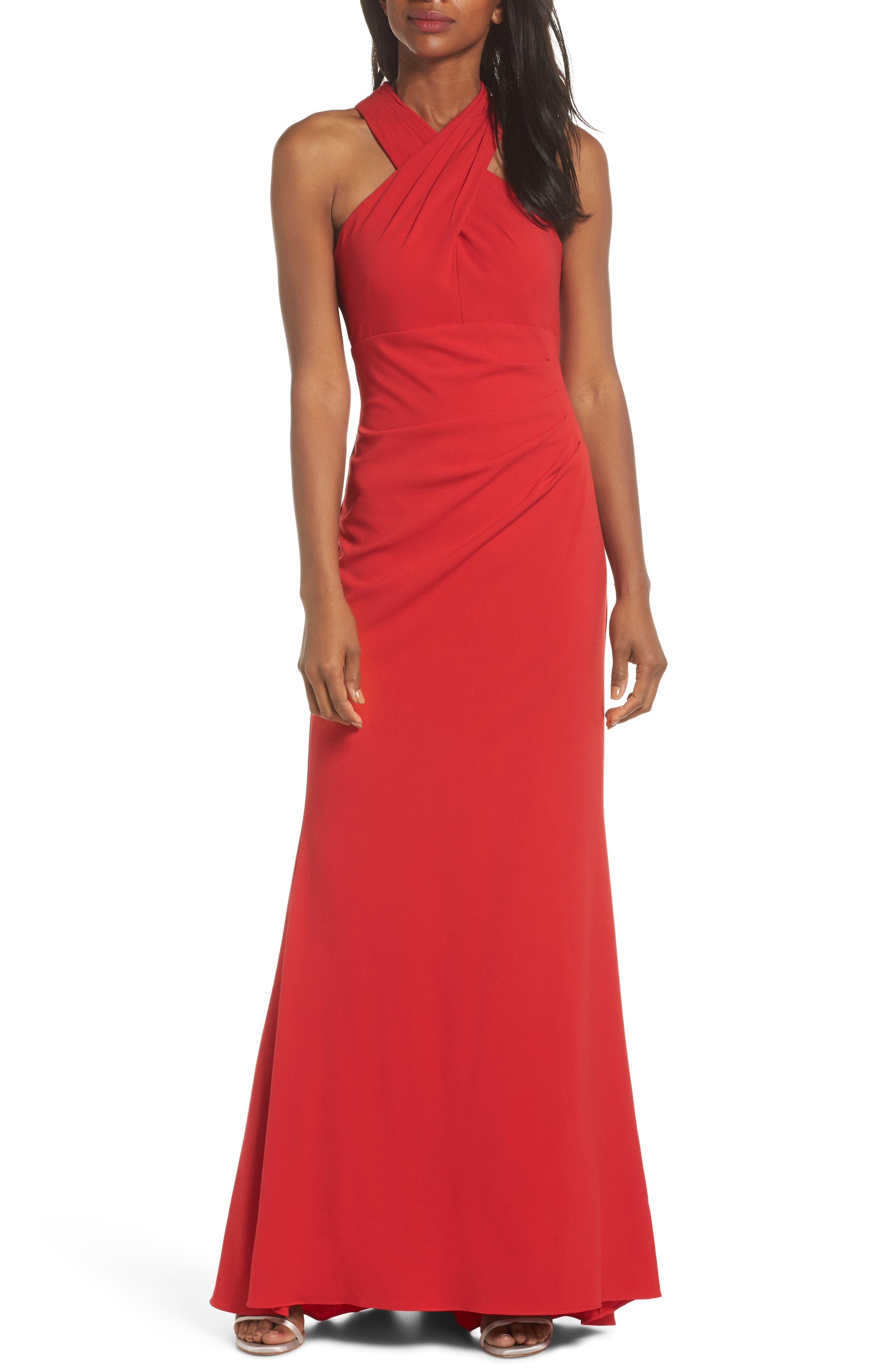 Eliza J Side Pleat Crossneck Gown, Red