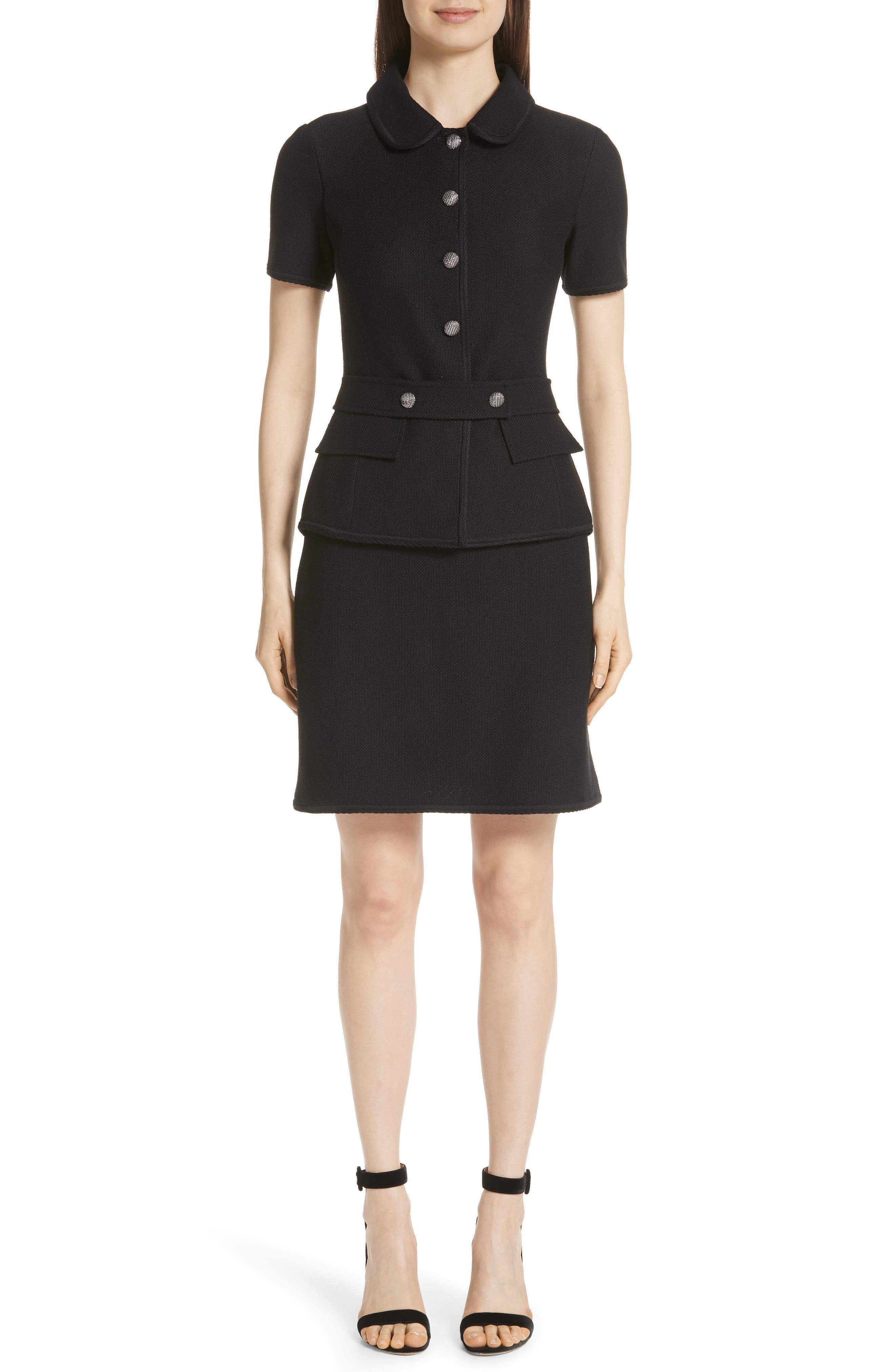 ST. JOHN COLLECTION Gail Knit Dress, Main, color, CAVIAR/ CAVIAR