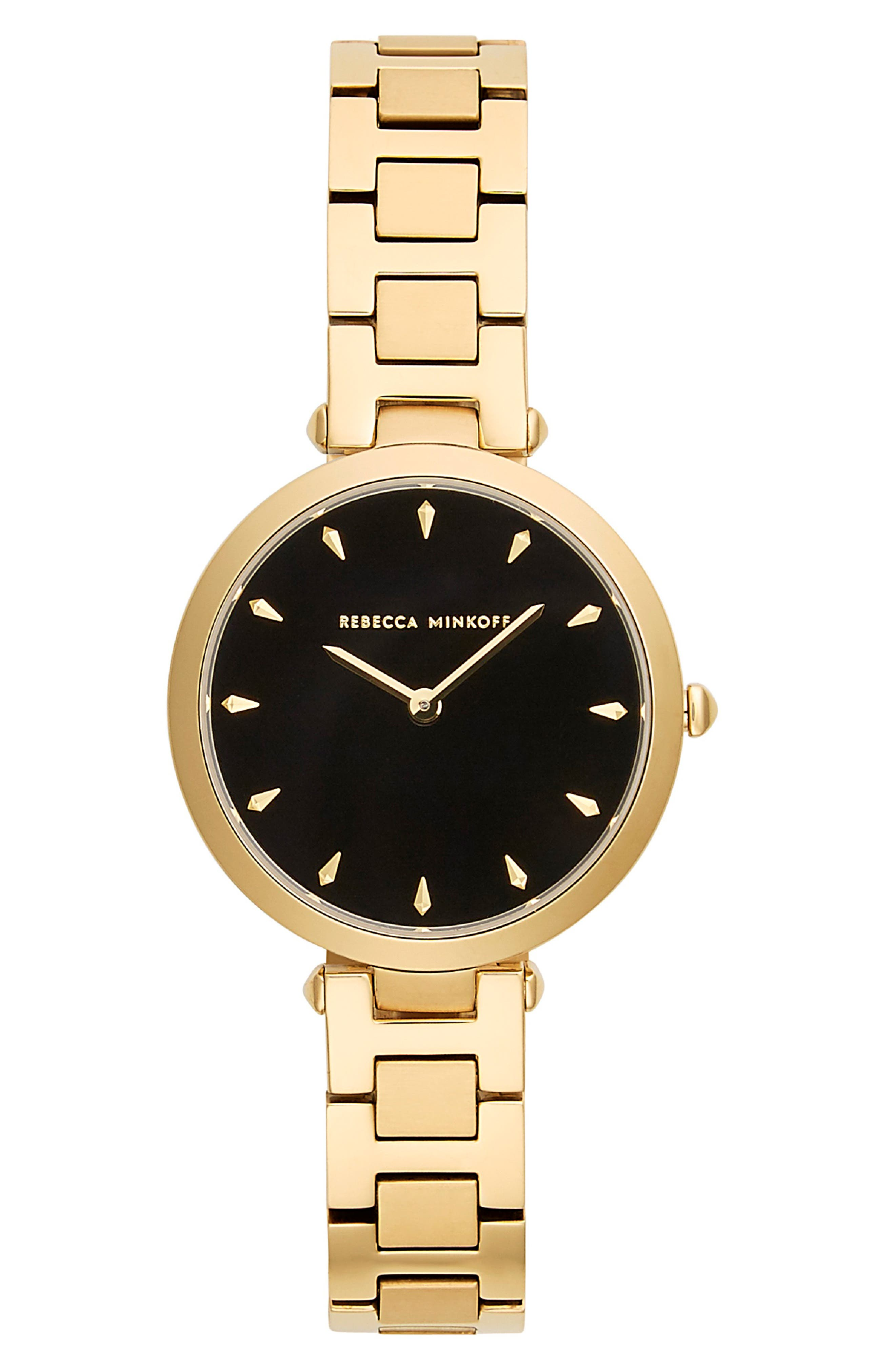 REBECCA MINKOFF, T-Bar Bracelet Strap Watch, 33mm, Main thumbnail 1, color, GOLD/ BLACK/ GOLD