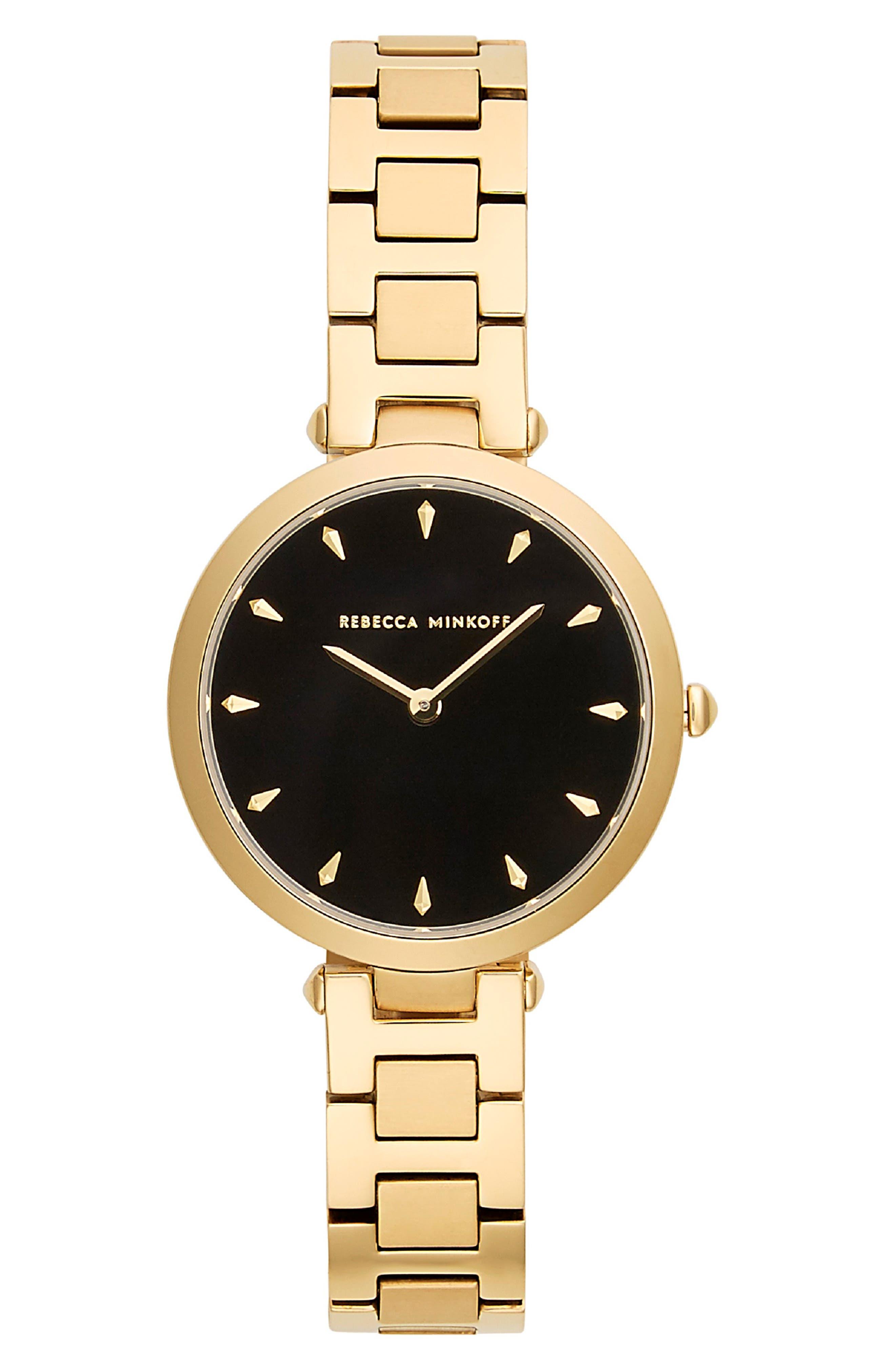 REBECCA MINKOFF T-Bar Bracelet Strap Watch, 33mm, Main, color, GOLD/ BLACK/ GOLD