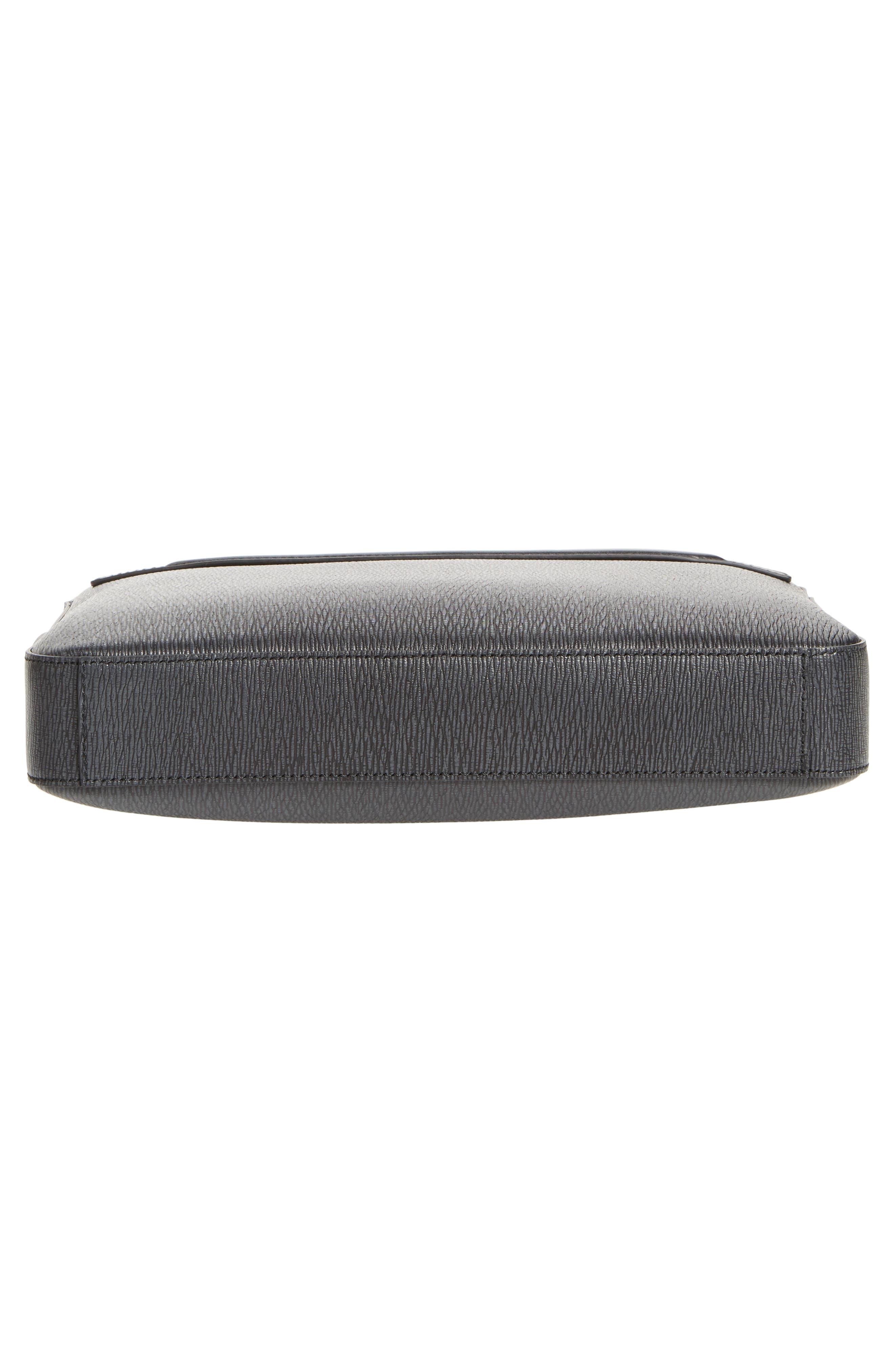 SALVATORE FERRAGAMO, Textured Leather Briefcase, Alternate thumbnail 6, color, GRIGIO/ NERO