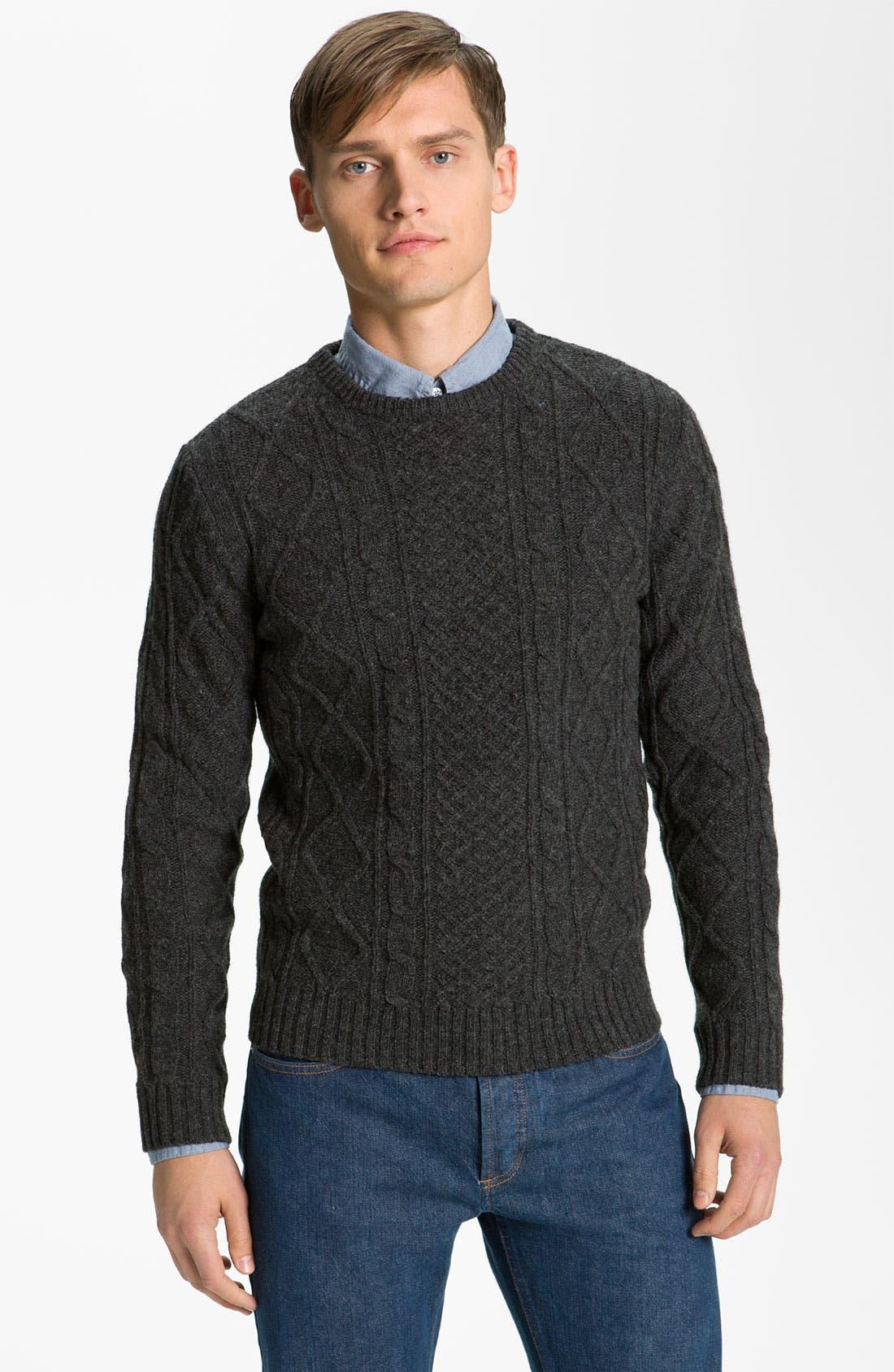 A.P.C., 'Fisherman's' Lambswool Sweater, Main thumbnail 1, color, 021