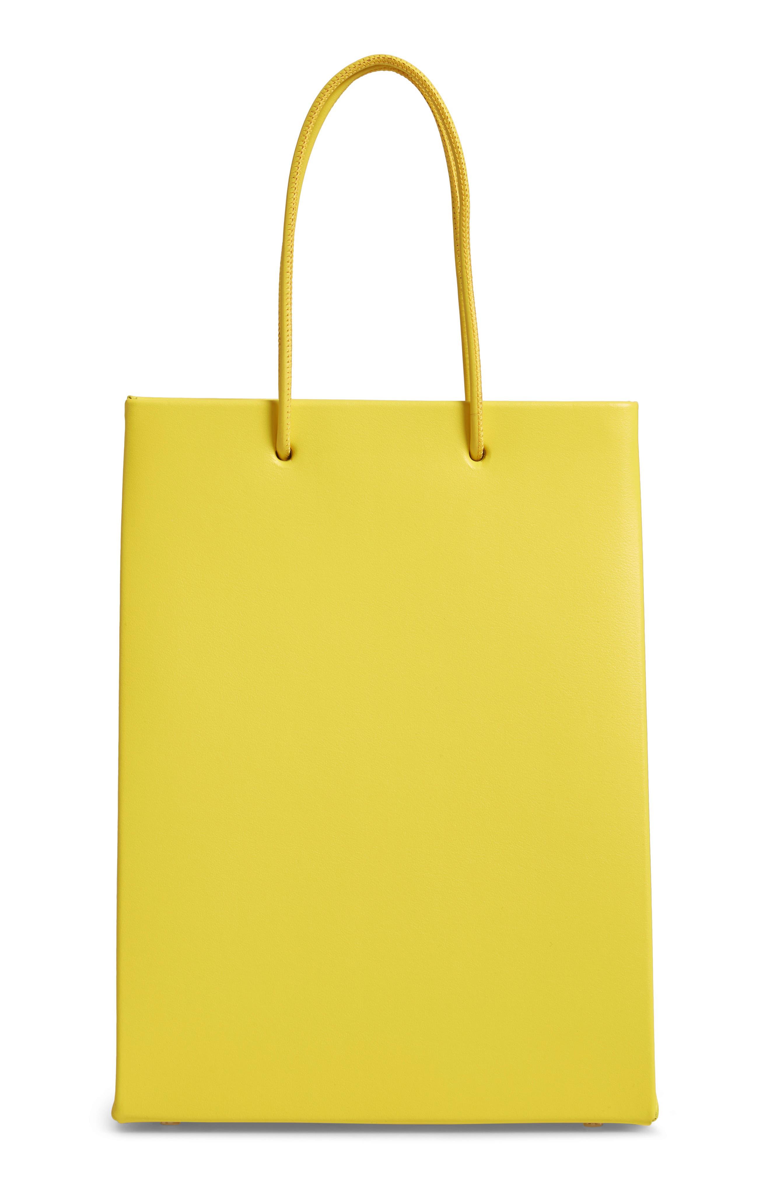 MEDEA, Prima Tall Calfskin Leather Bag, Alternate thumbnail 3, color, YELLOW