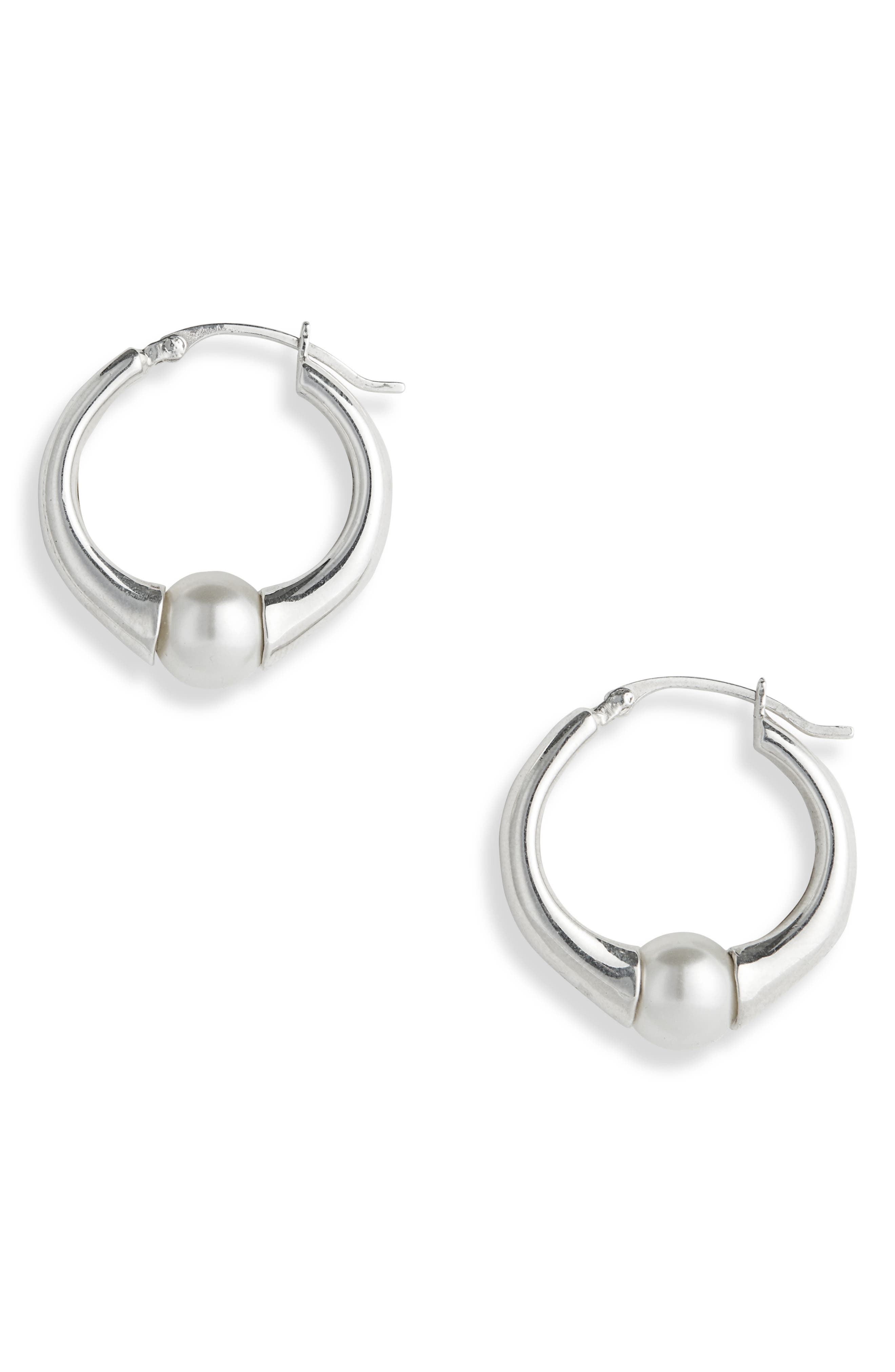 SOPHIE BUHAI, Small Vermeer Hoop Earrings, Main thumbnail 1, color, STERLING SILVER/ CRYSTAL PEARL