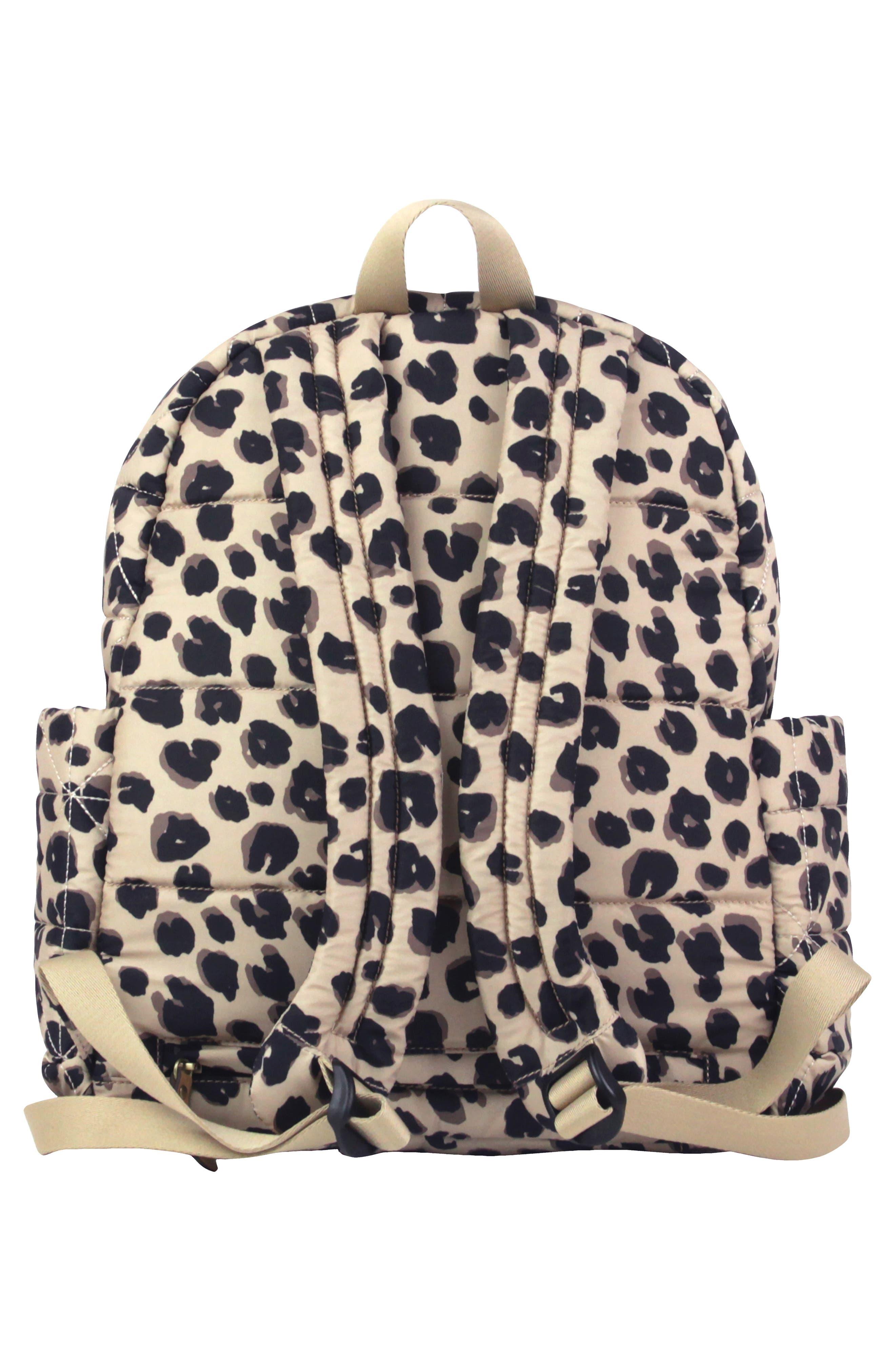 TWELVELITTLE, Quilted Water Resistant Nylon Diaper Backpack, Alternate thumbnail 2, color, LEOPARD PRINT
