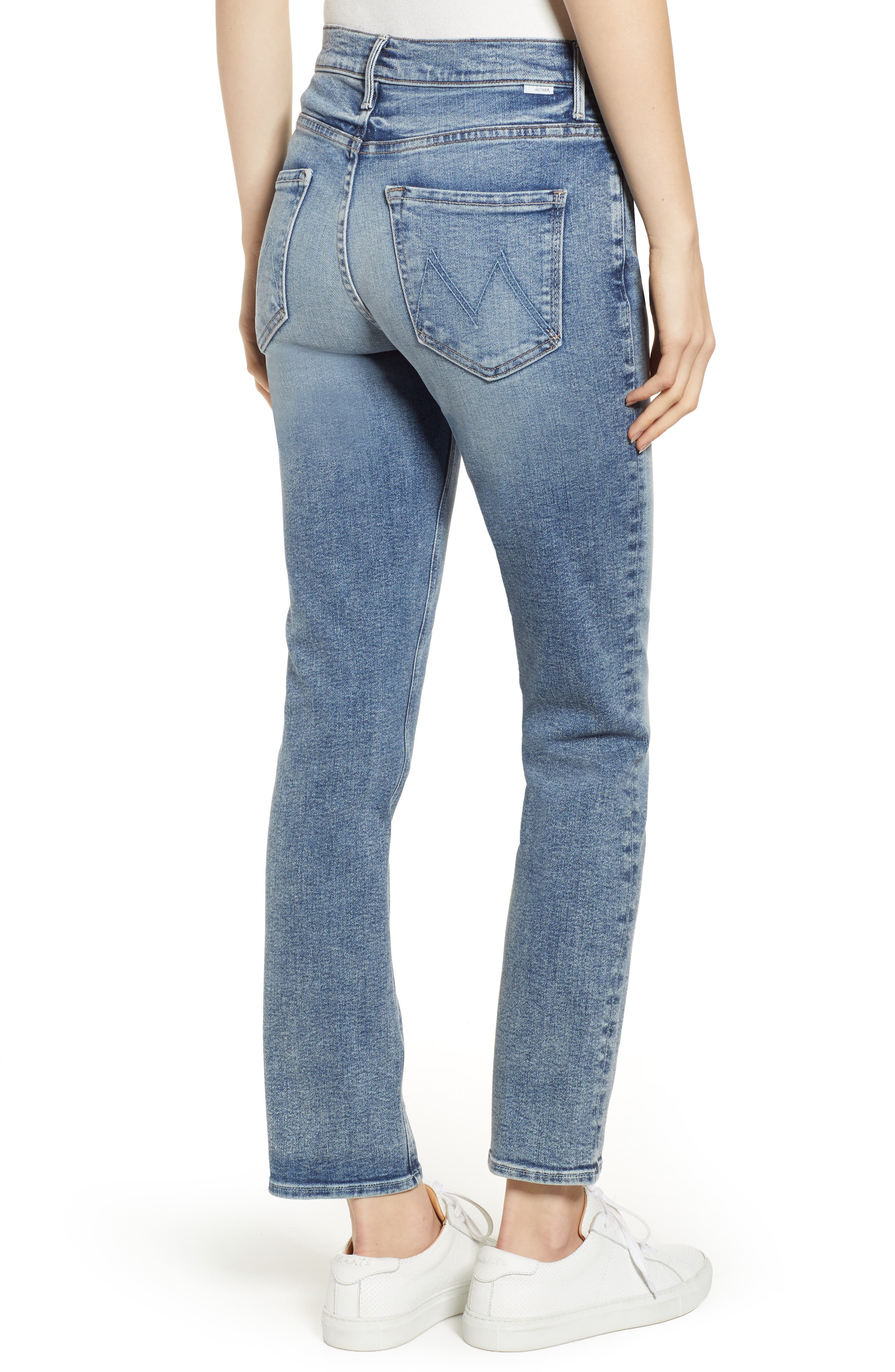 MOTHER, Dazzler High Waist Ankle Straight Leg Jeans, Alternate thumbnail 2, color, 451