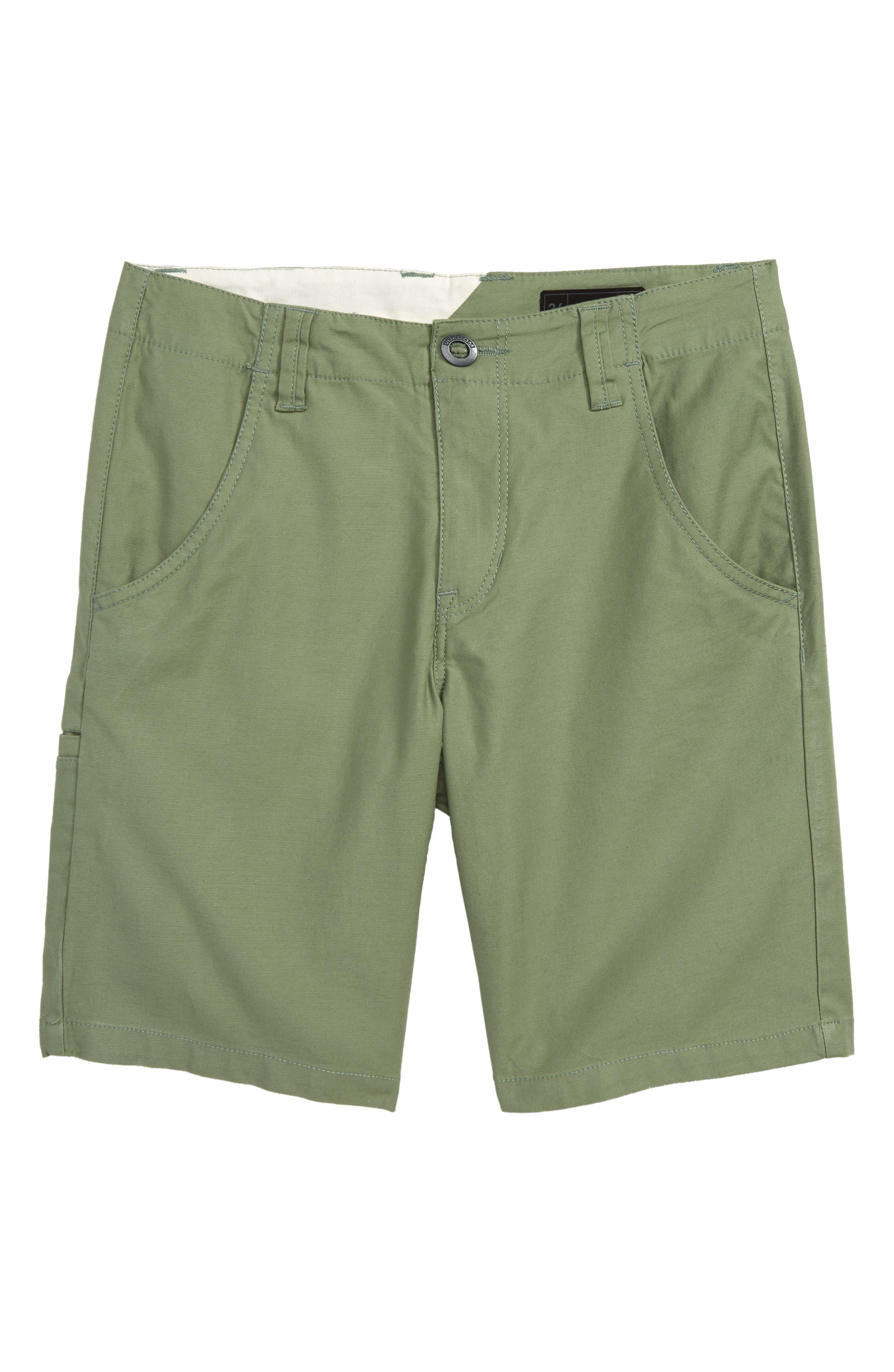 VOLCOM Riser Shorts, Main, color, FADED ARMY