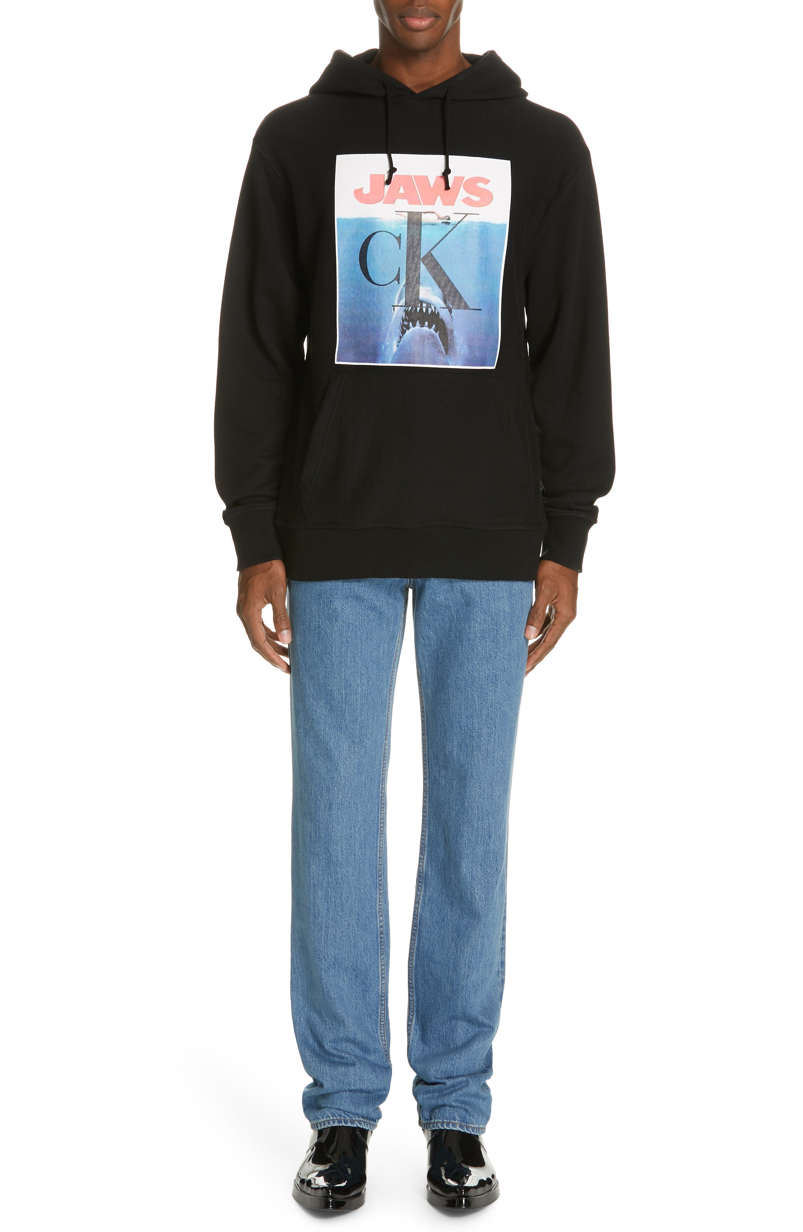 CALVIN KLEIN 205W39NYC, Jaws Graphic Hoodie, Alternate thumbnail 7, color, BLACK
