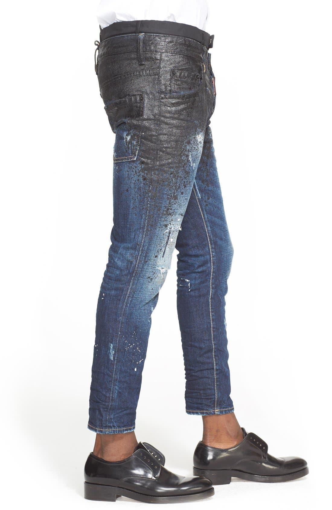 DSQUARED2, Skater Fit Double Waist Paint Splatter Jeans, Alternate thumbnail 4, color, 005