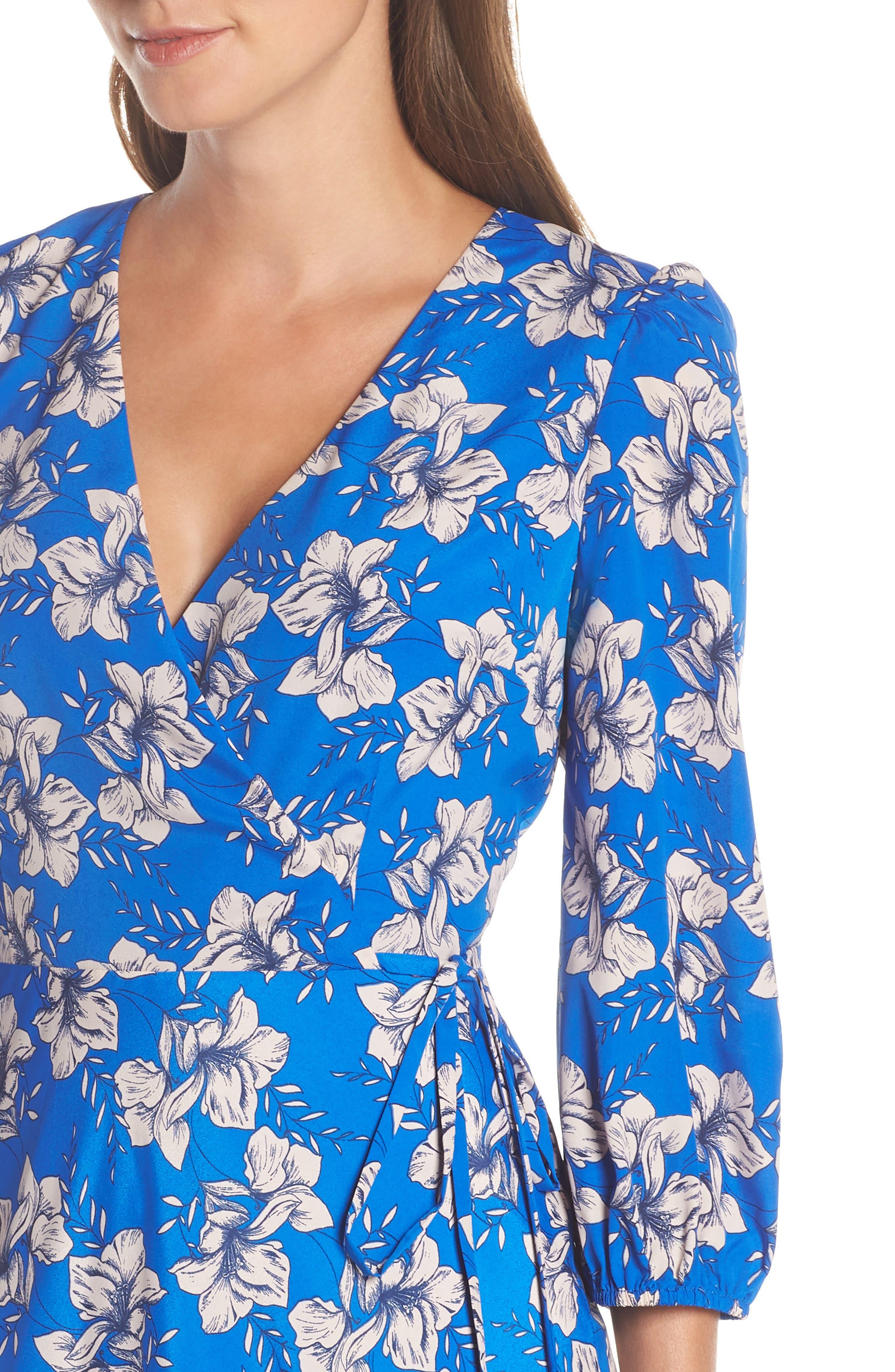 ELIZA J, Faux Wrap Maxi Dress, Alternate thumbnail 5, color, BLUE