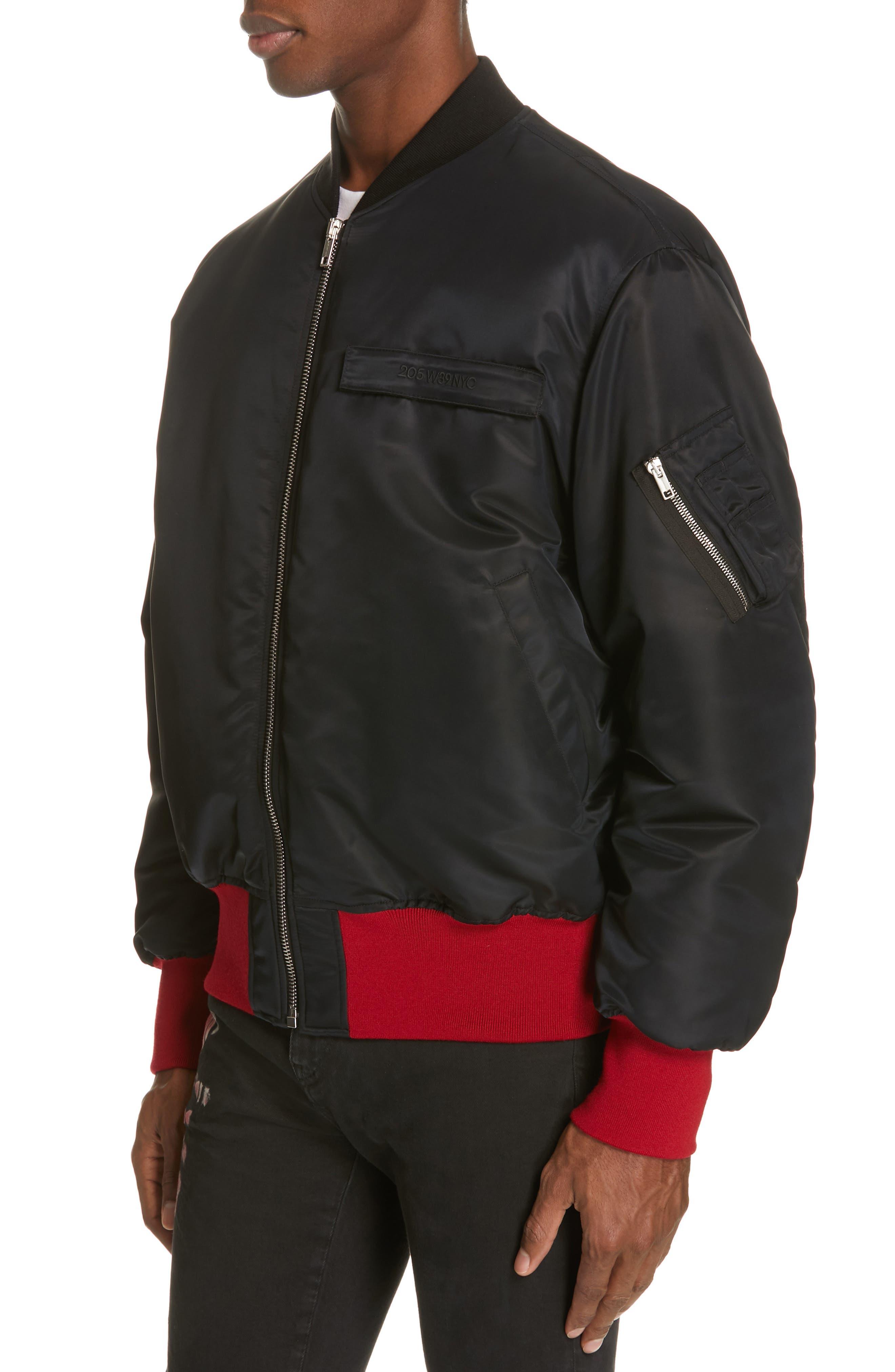CALVIN KLEIN 205W39NYC, Satin Nylon Bomber Jacket, Alternate thumbnail 4, color, BLACK