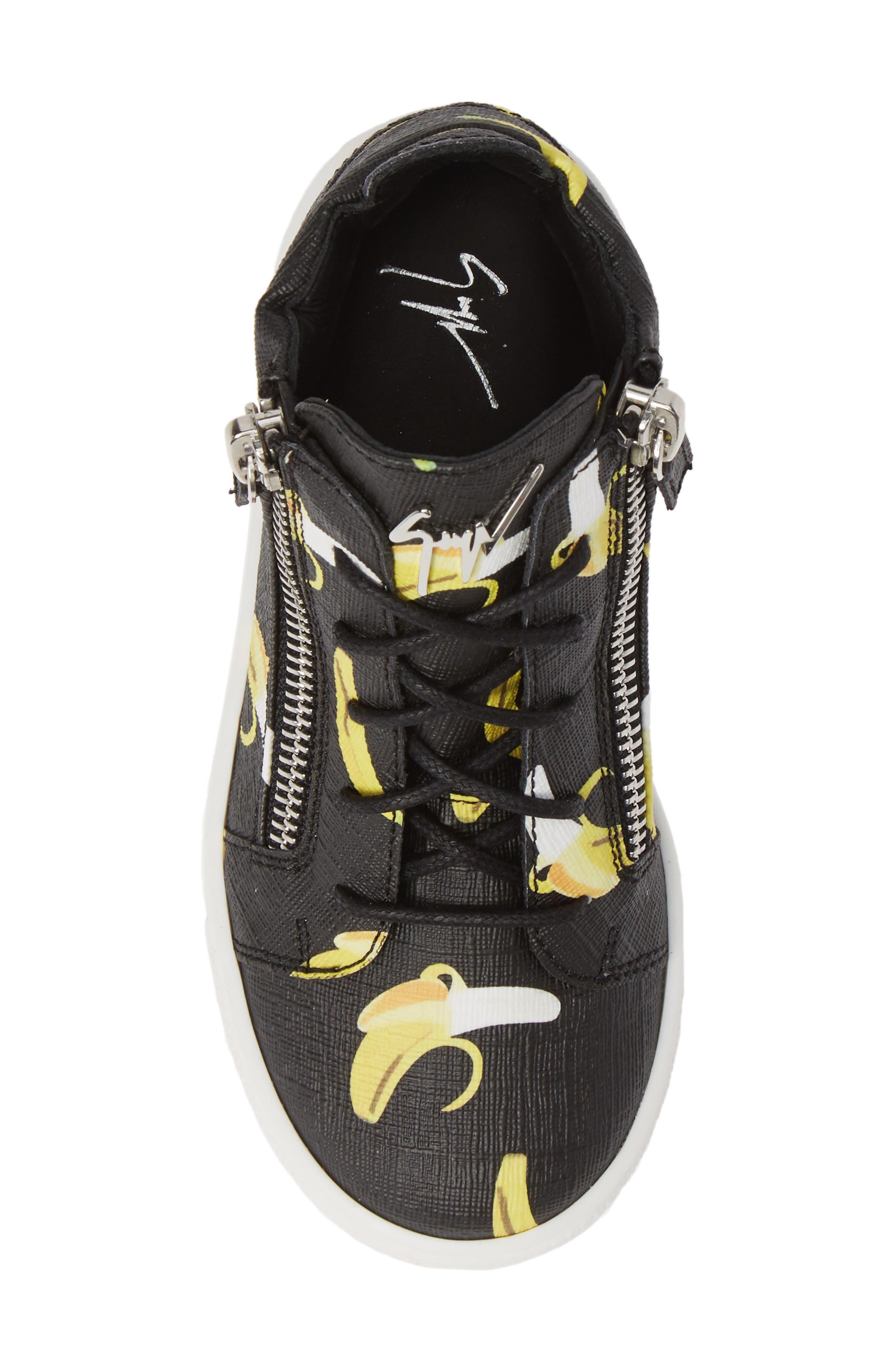 GIUSEPPE ZANOTTI, Kidlondon Banana Print Sneaker, Alternate thumbnail 5, color, BANANAS