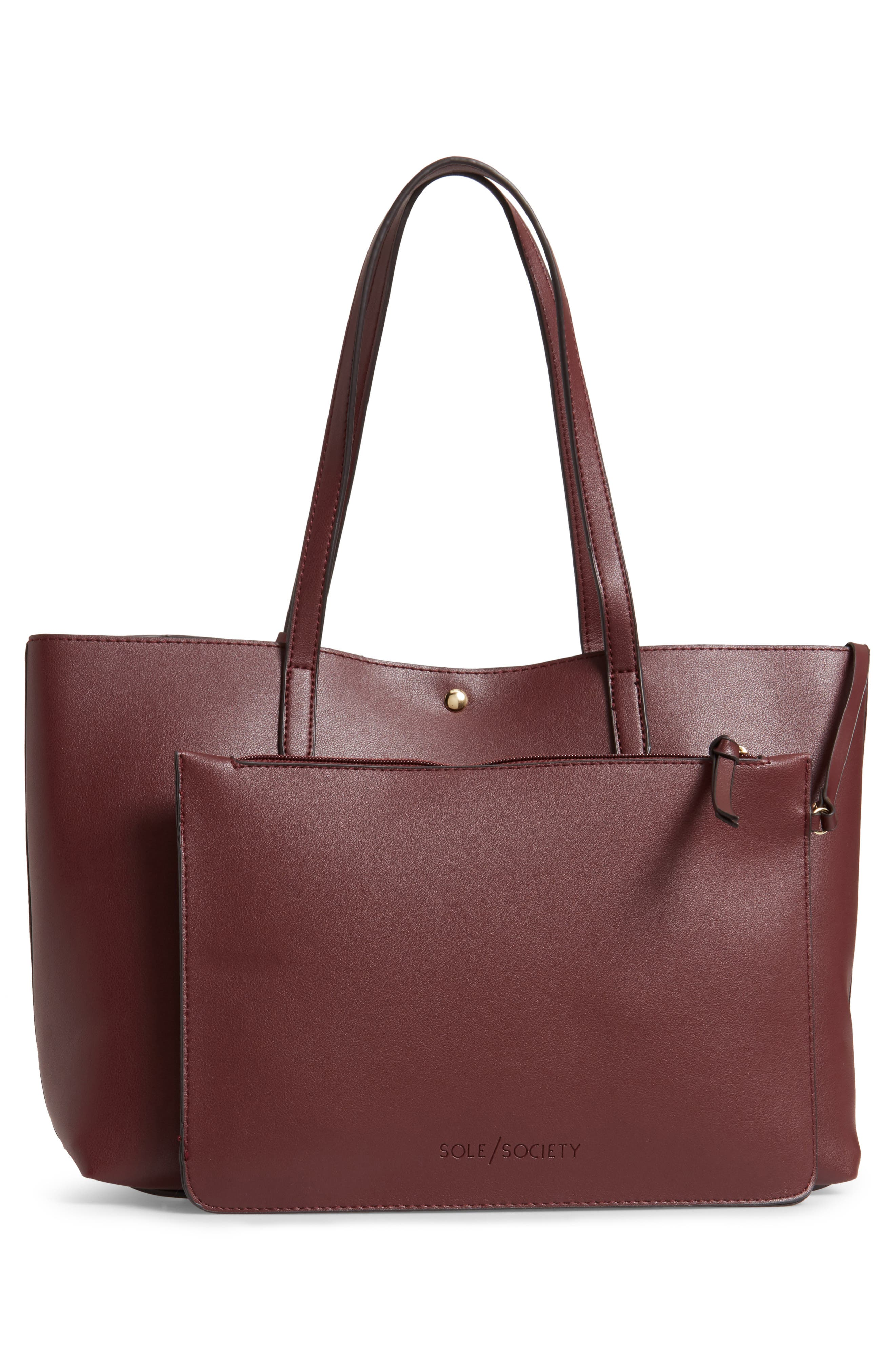 SOLE SOCIETY, Zeda Faux Leather Tote, Alternate thumbnail 4, color, 930