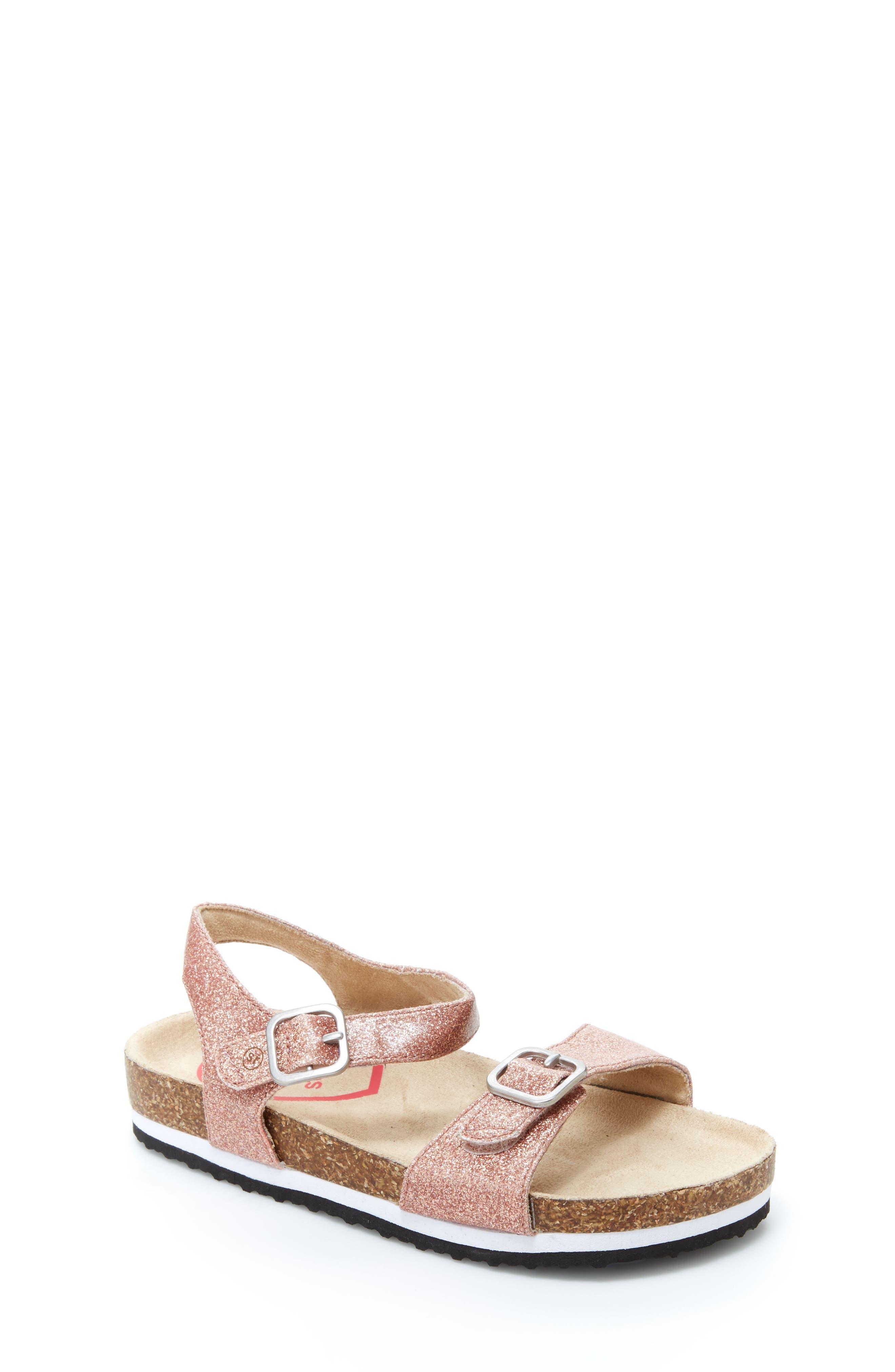 STRIDE RITE, Zuly Glitter Sandal, Main thumbnail 1, color, ROSE GOLD