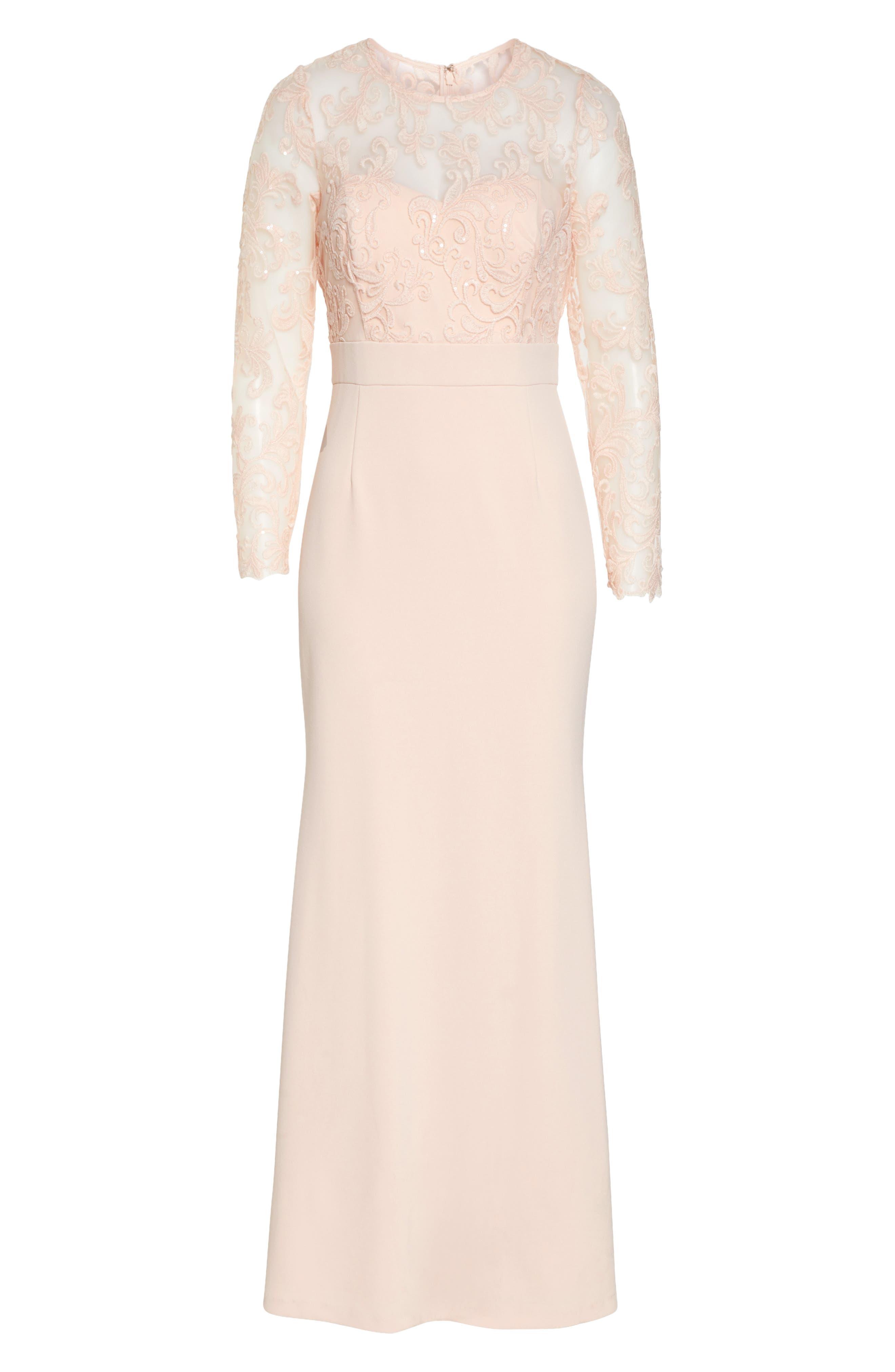 ELIZA J, Embroidered Bodice Crepe Evening Dress, Alternate thumbnail 8, color, BLUSH