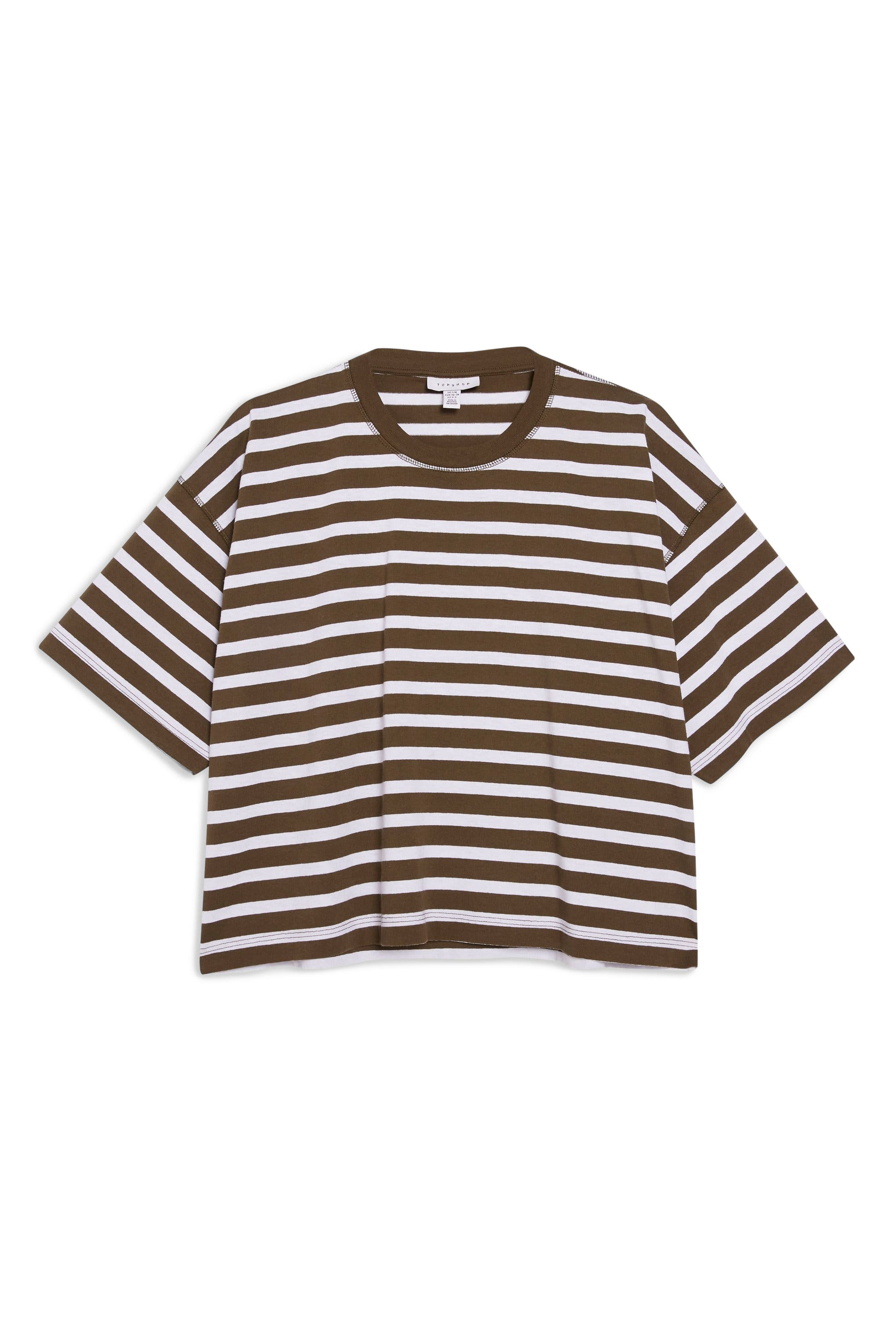 TOPSHOP, Stripe Boxy Tee, Alternate thumbnail 3, color, OLIVE MULTI
