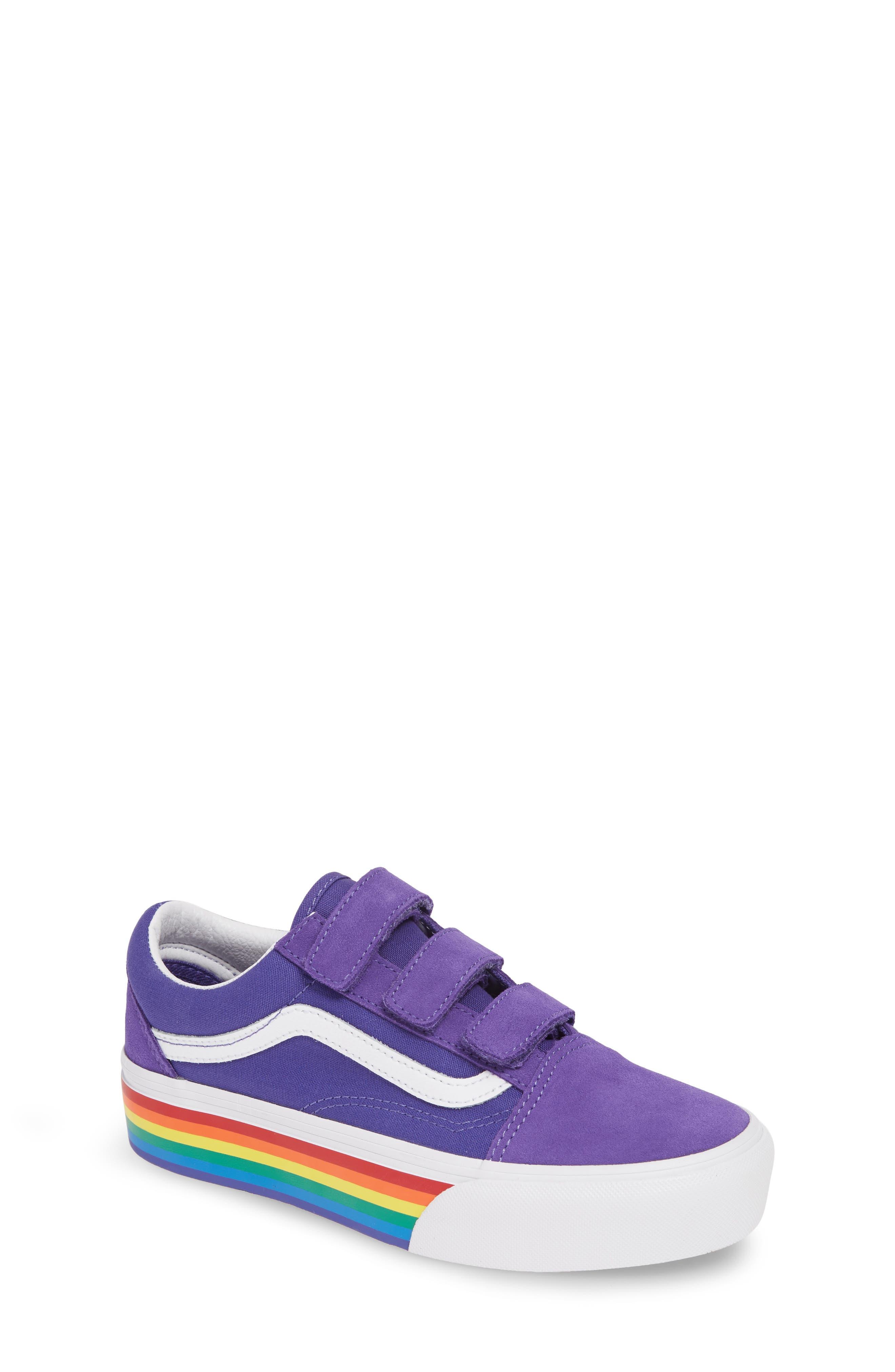 Girls Vans Old Skool V Rainbow Platform Sneaker Size 5 M  Purple