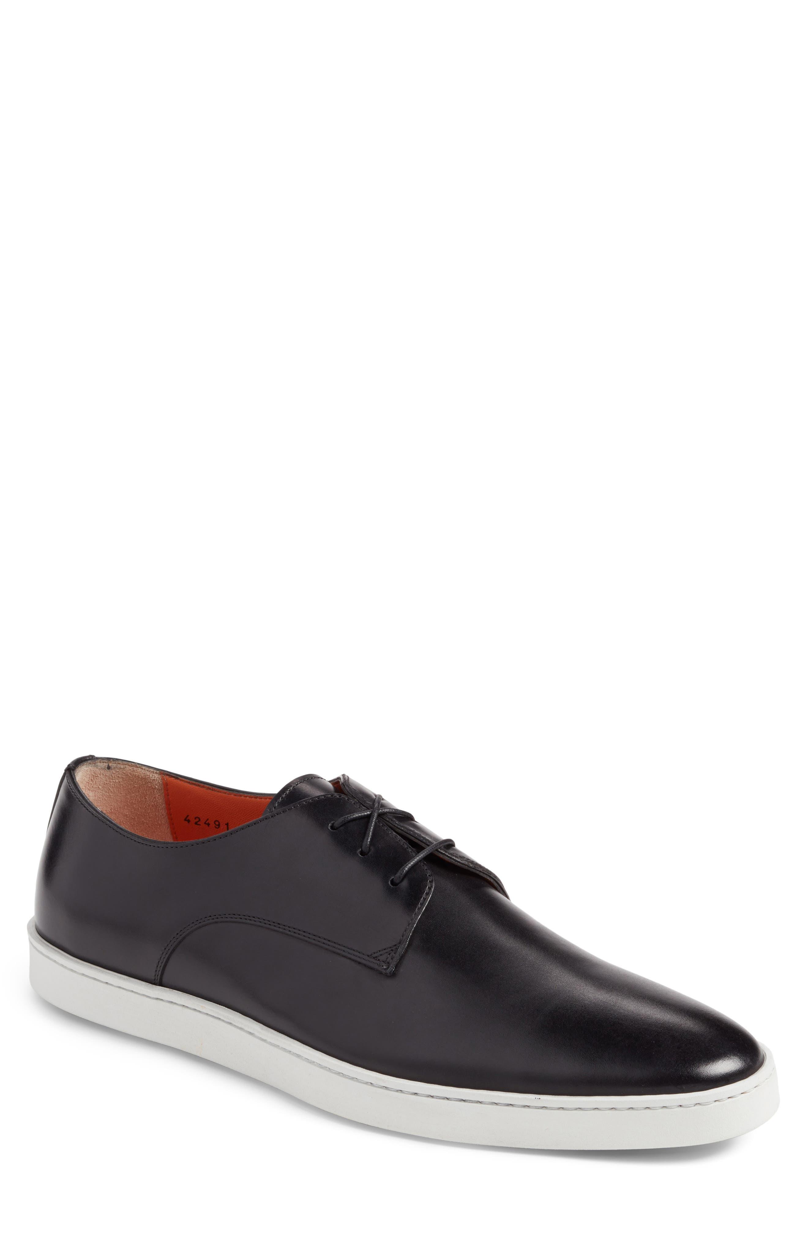 SANTONI Doyle Sneaker, Main, color, BLACK LEATHER