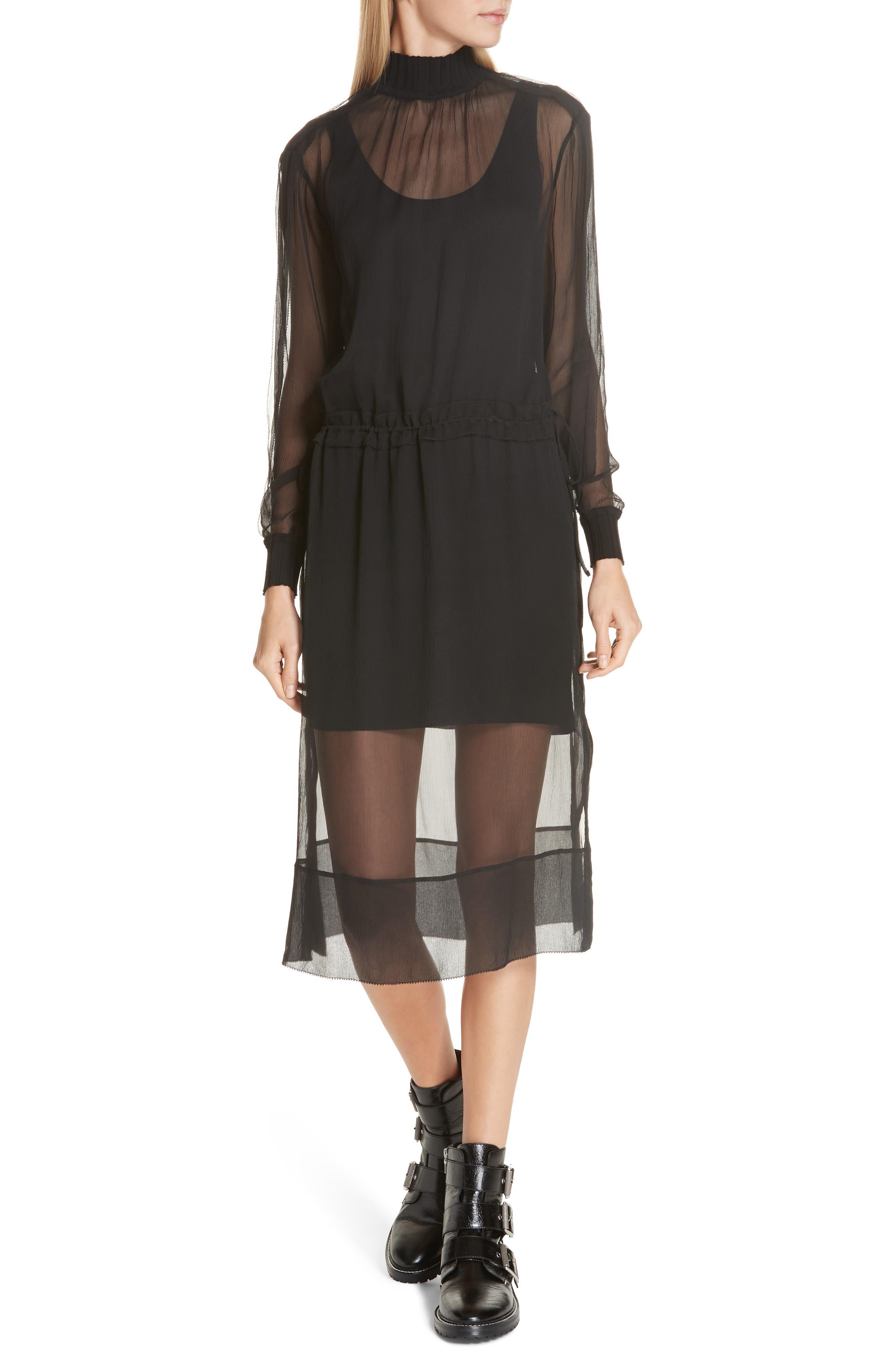 RAG & BONE, Dinah Silk Dress, Main thumbnail 1, color, 001