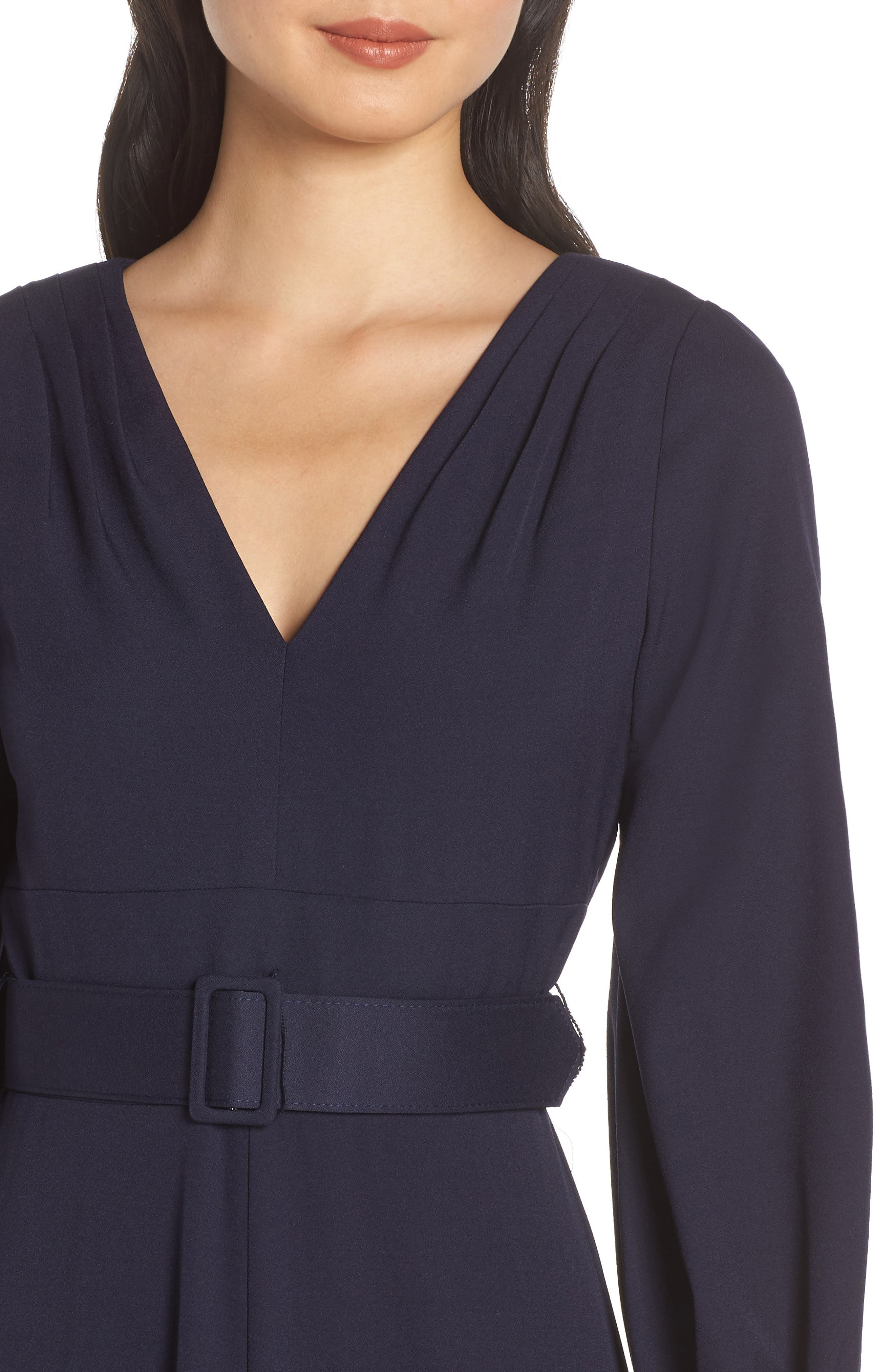 ELIZA J, Long Sleeve Belted Gown, Alternate thumbnail 5, color, NAVY