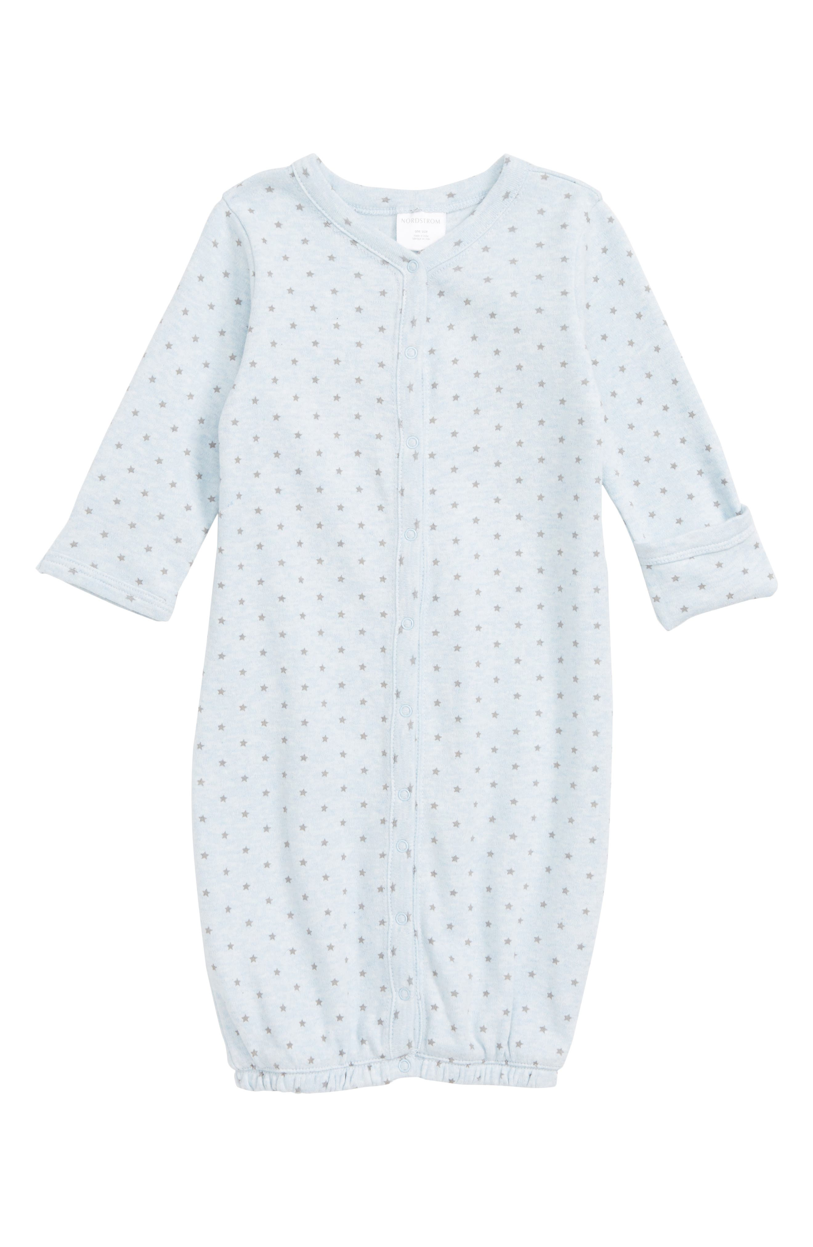 NORDSTROM BABY Convertible Gown, Main, color, BLUE PRECIOUS HEATHER STARS