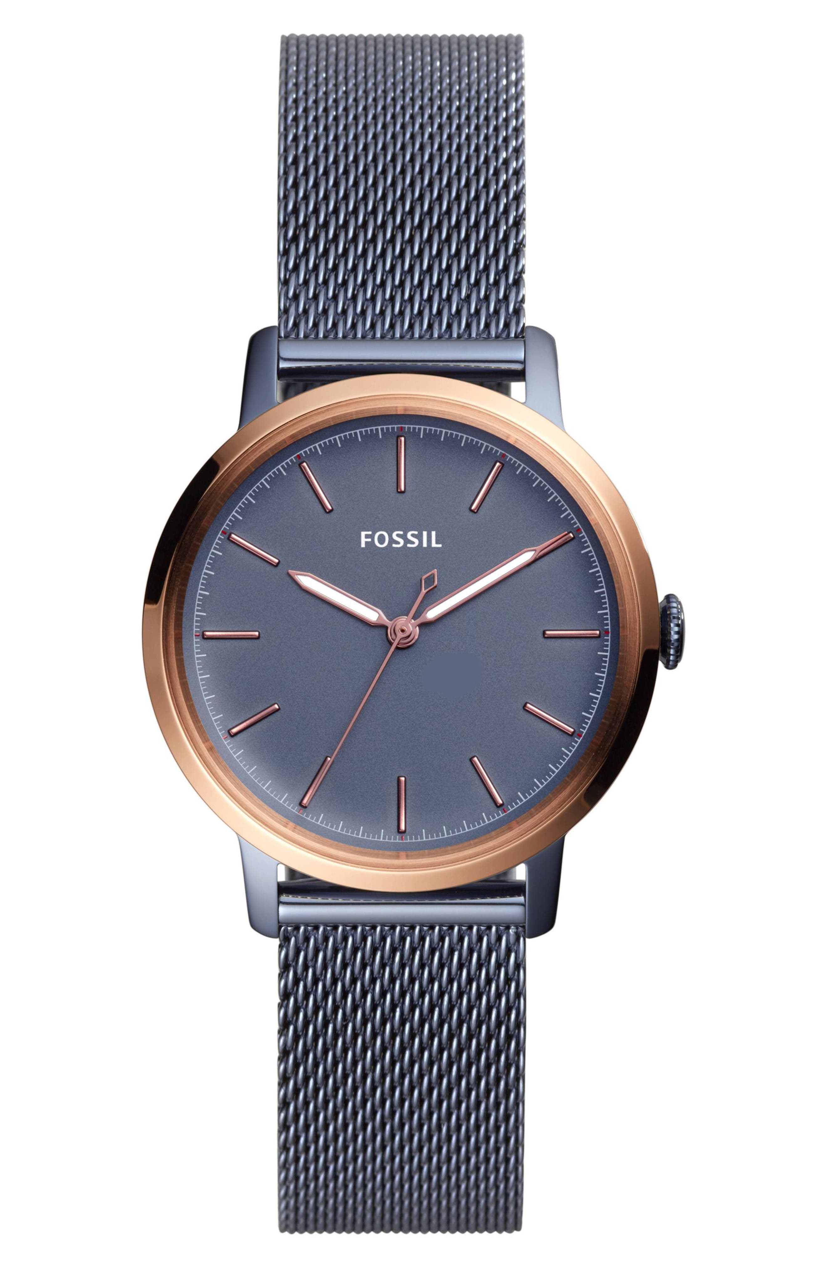 FOSSIL Neely Mesh Strap Watch, 34mm, Main, color, BLUE