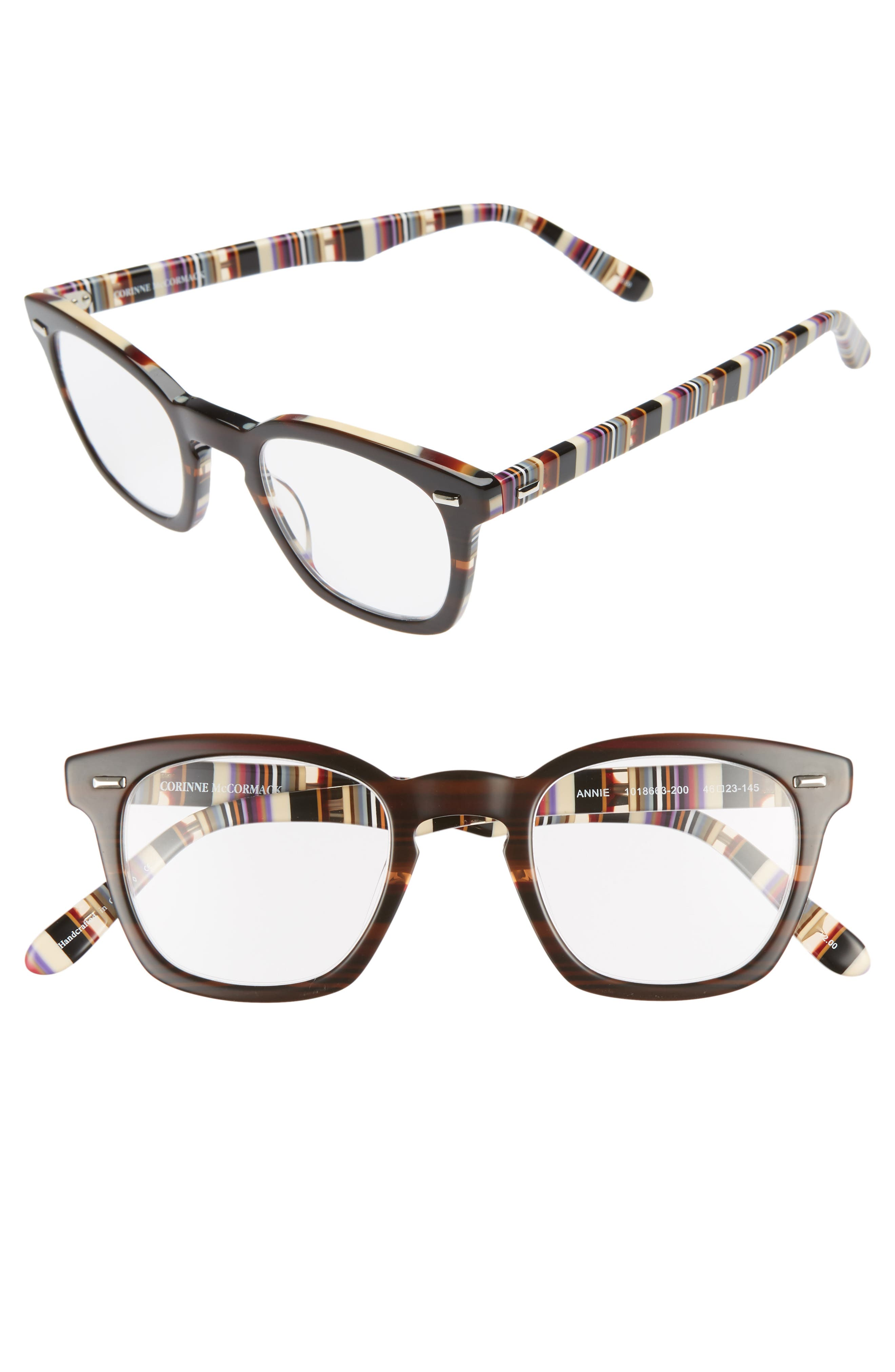 CORINNE MCCORMACK, 'Annie' 46mm Reading Glasses, Main thumbnail 1, color, BROWN/ STRIPE