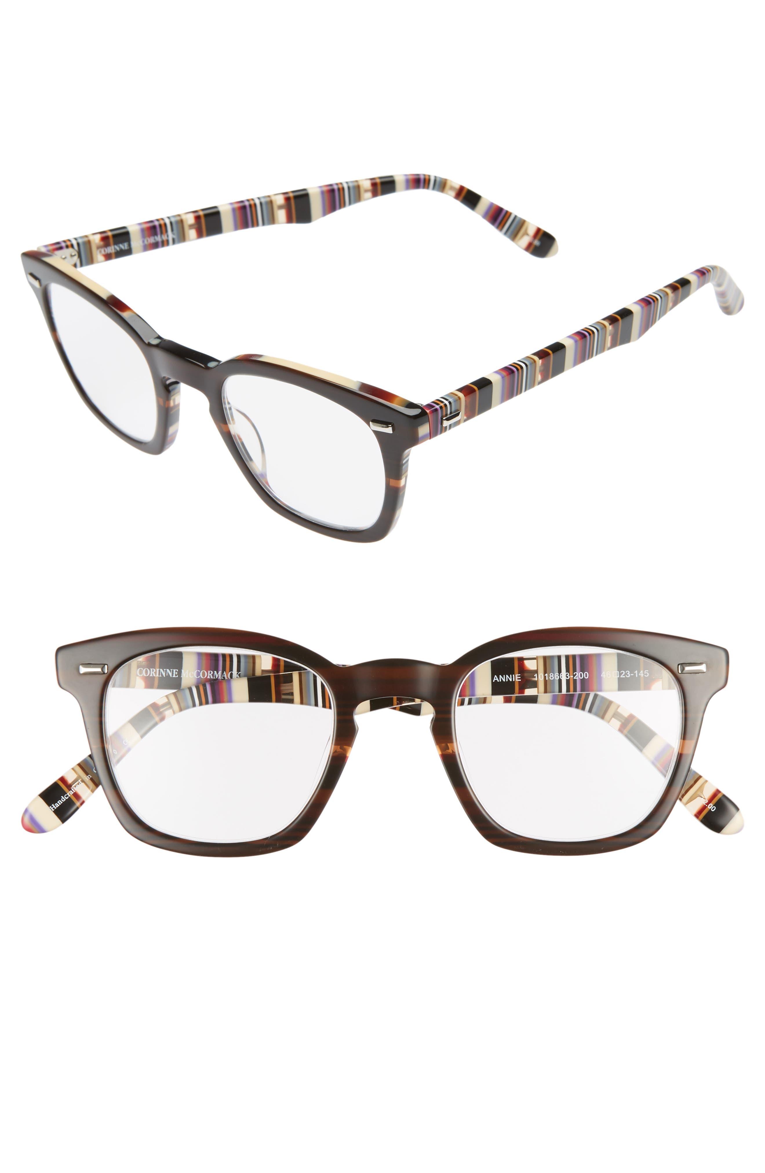 CORINNE MCCORMACK 'Annie' 46mm Reading Glasses, Main, color, BROWN/ STRIPE