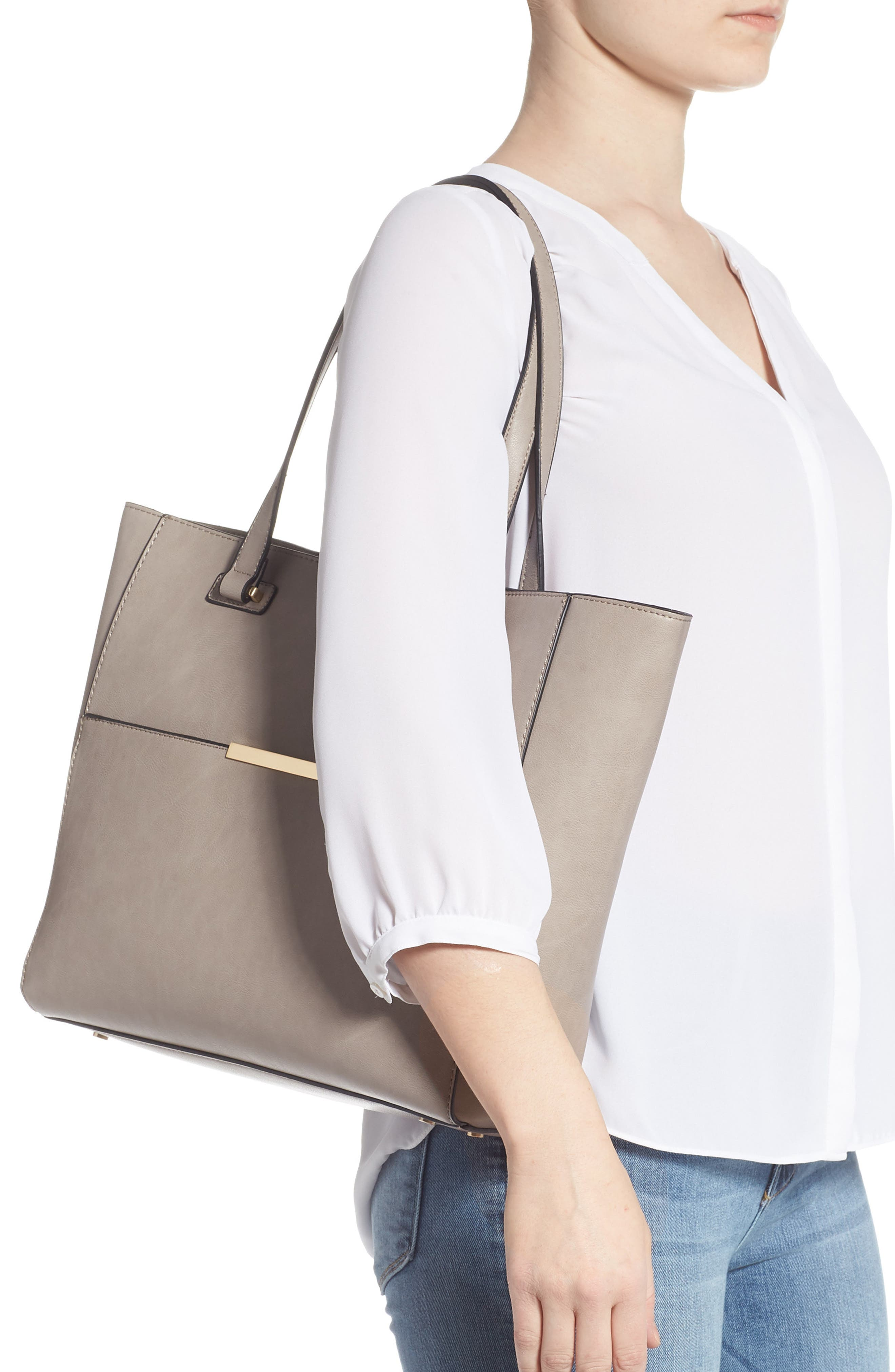 SOLE SOCIETY, Alyn Faux Leather Tote, Alternate thumbnail 2, color, GRAVEL