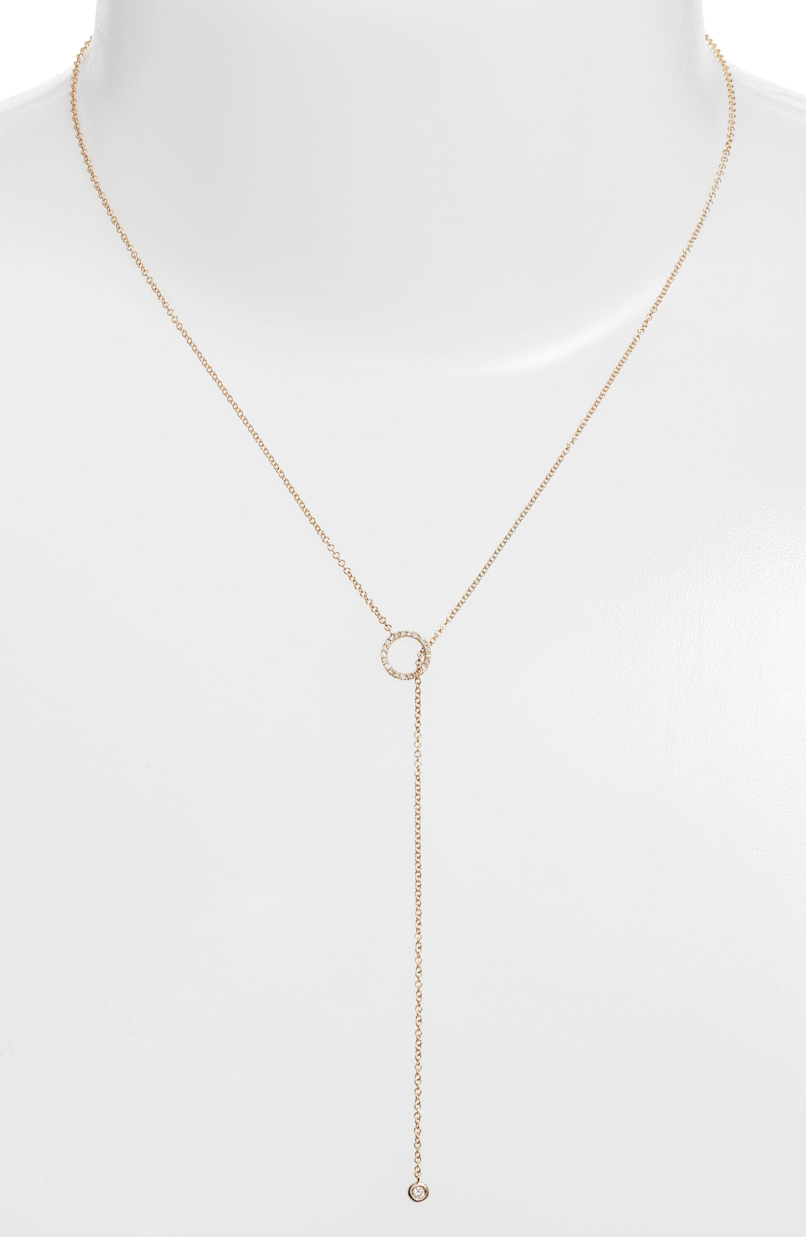 EF COLLECTION, Open Circle Lariat Necklace, Alternate thumbnail 2, color, YELLOW GOLD