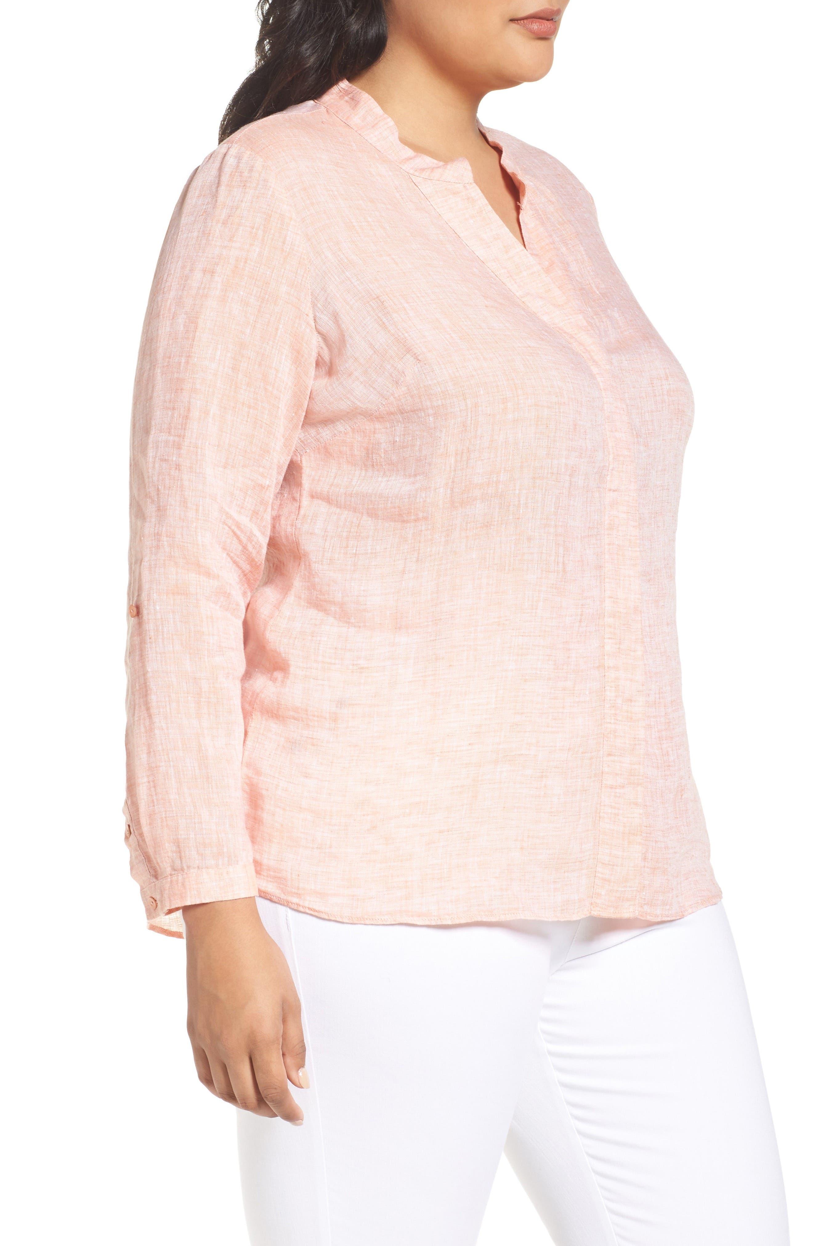 NIC+ZOE, Drifty Woven Linen Shirt, Alternate thumbnail 3, color, TANGERINE