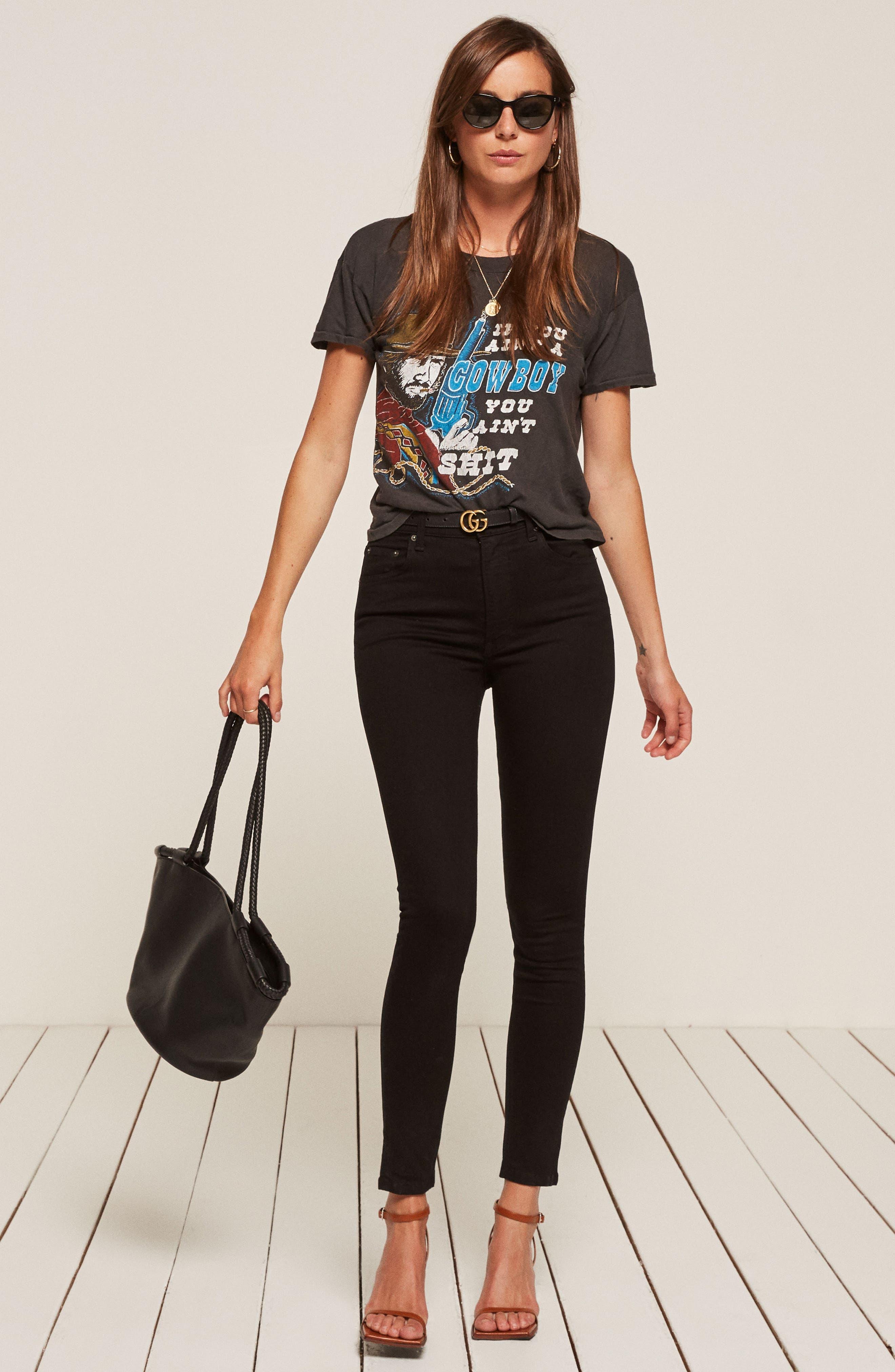 REFORMATION, High & Skinny Jeans, Alternate thumbnail 4, color, BLACK