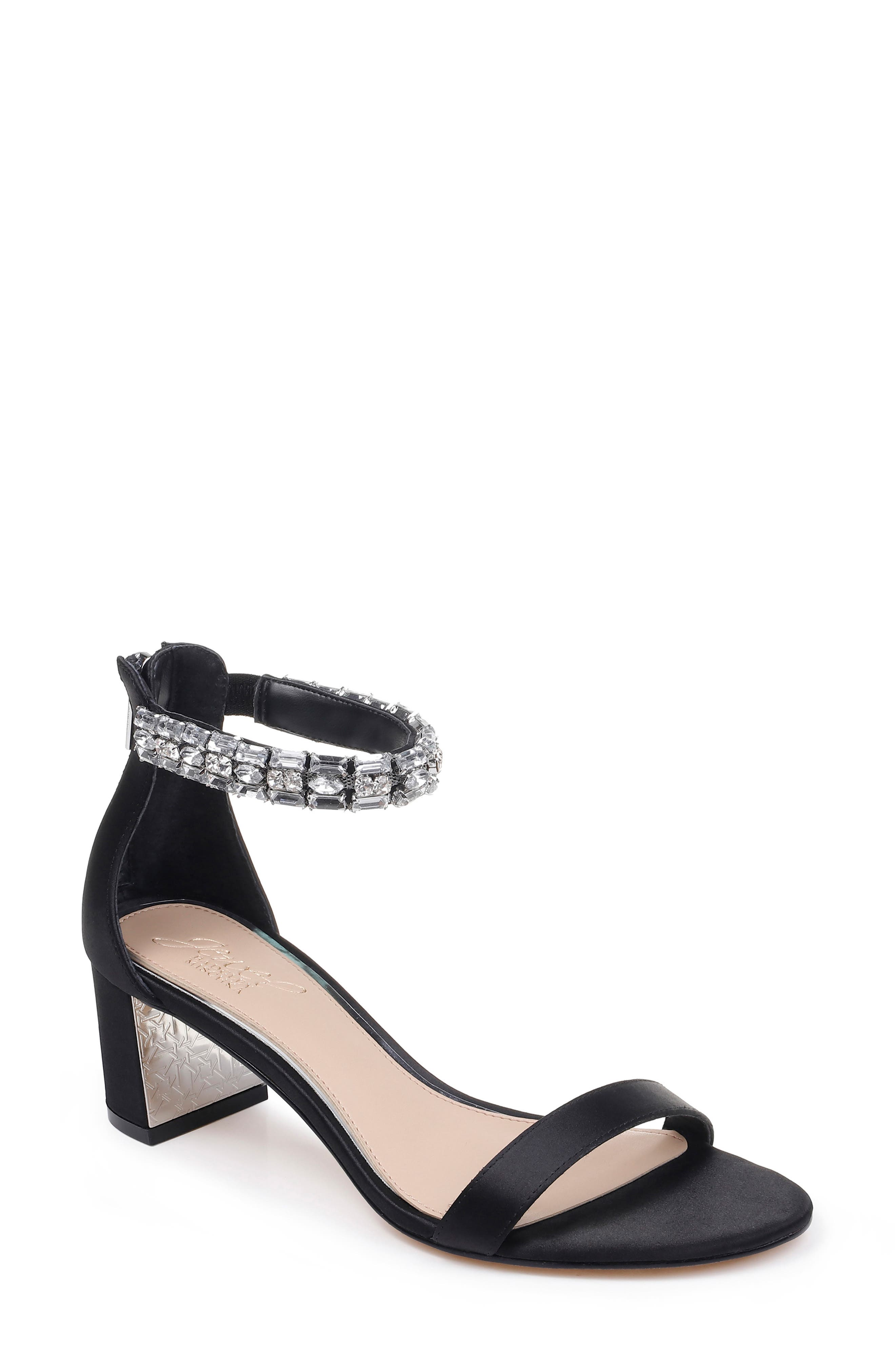 JEWEL BADGLEY MISCHKA, Katerina Ankle Strap Sandal, Main thumbnail 1, color, BLACK CRYSTAL SATIN