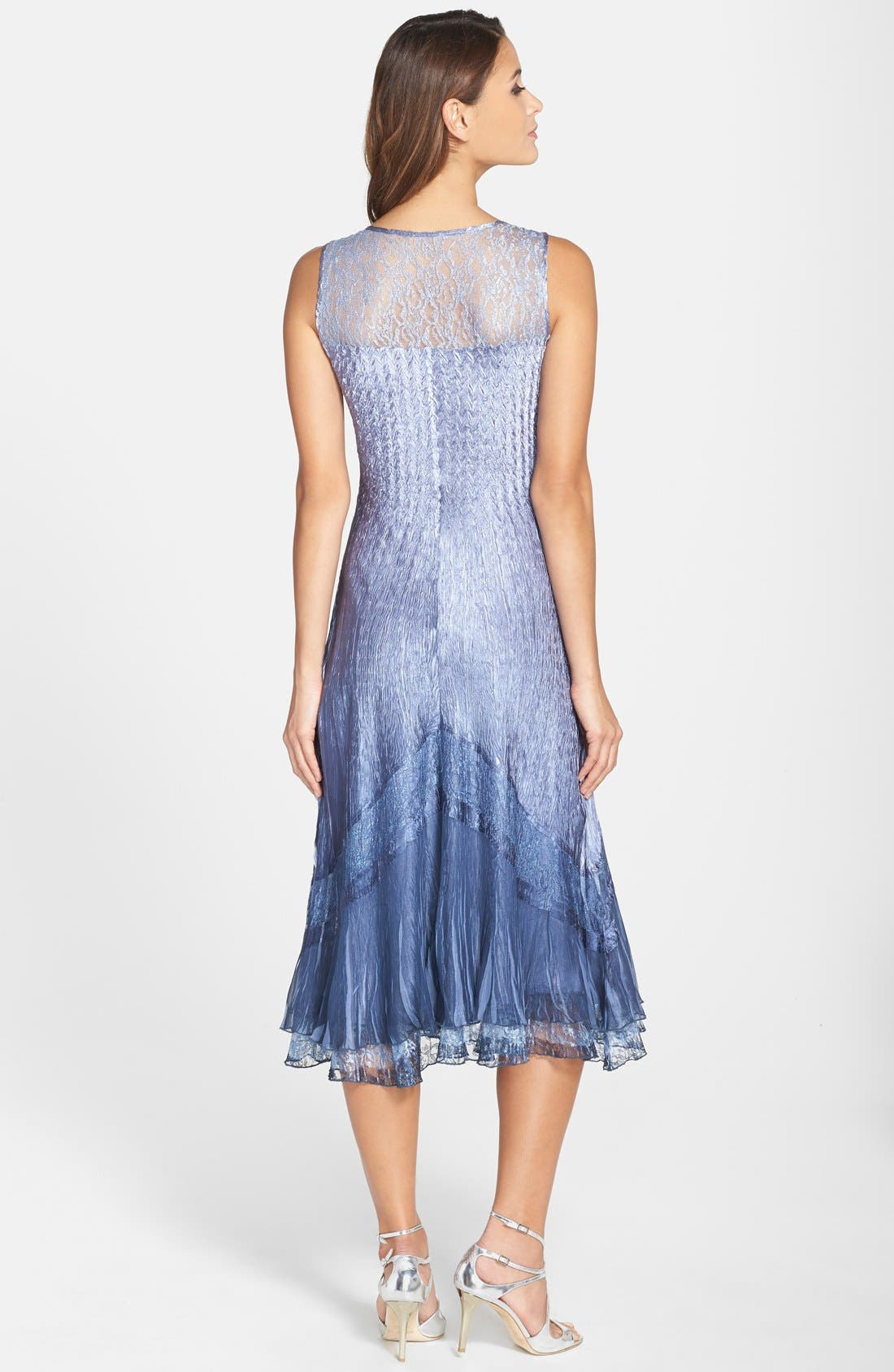 KOMAROV, Embellished Lace Trim Charmeuse Dress & Jacket, Alternate thumbnail 4, color, 500