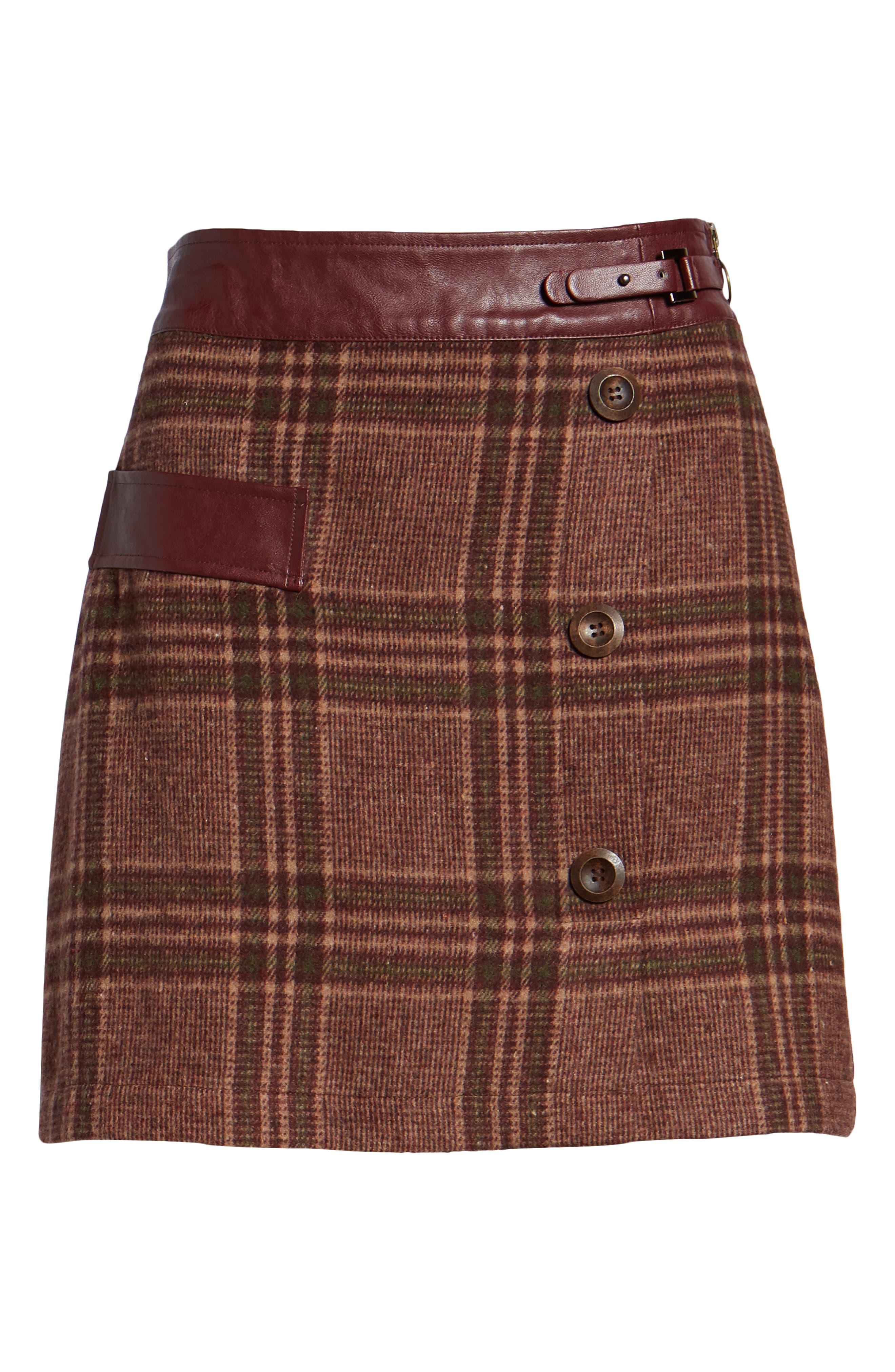 MOON RIVER, Plaid Miniskirt, Alternate thumbnail 6, color, 200