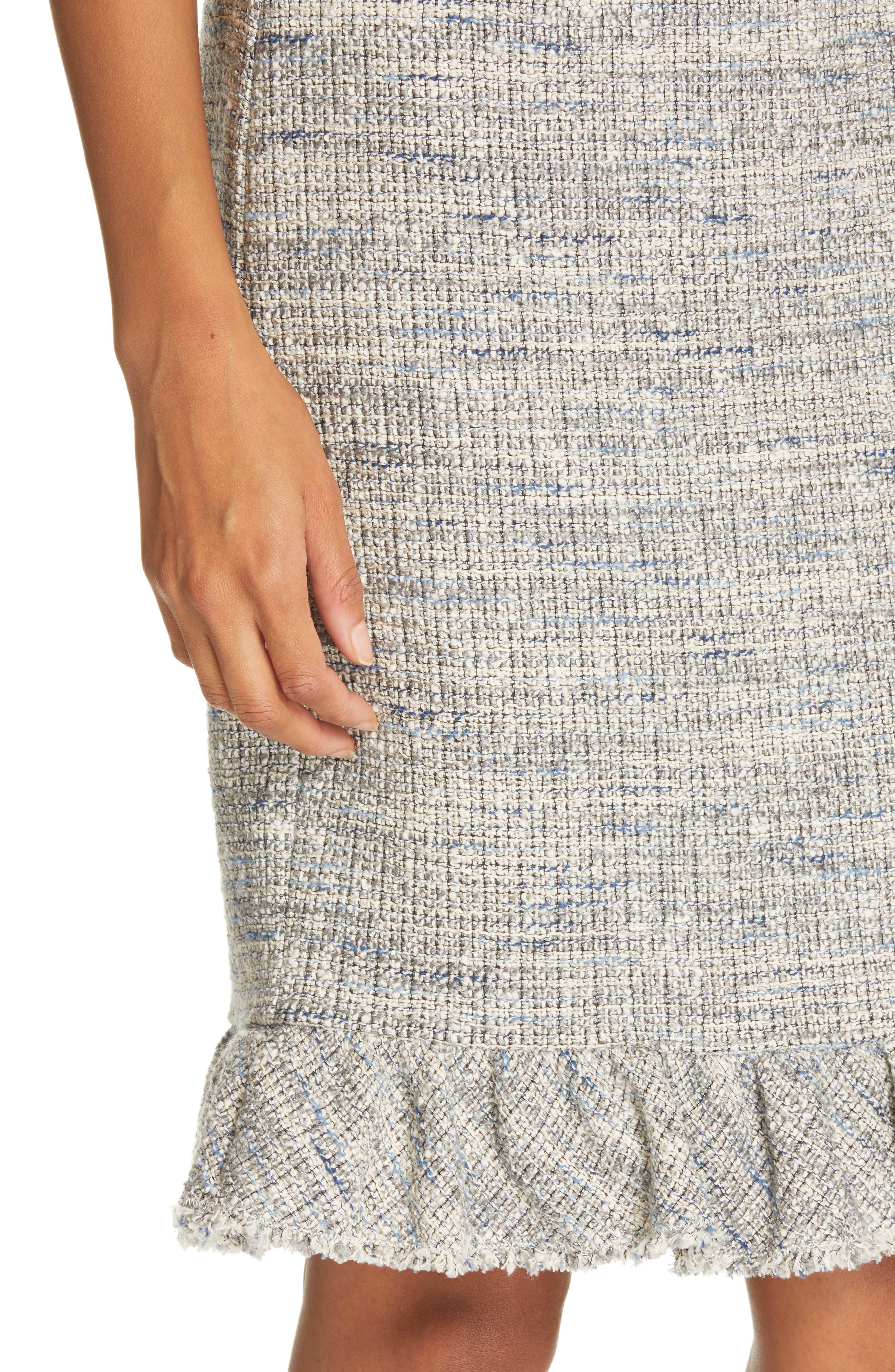 REBECCA TAYLOR, Tweed Ruffle Hem Skirt, Alternate thumbnail 4, color, 020