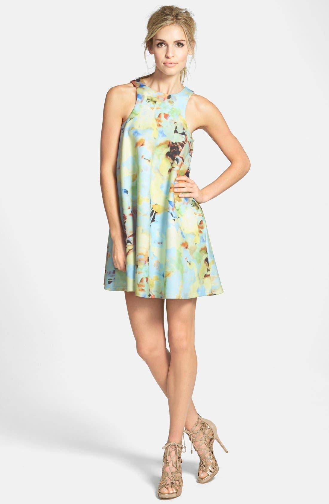 J.O.A., Abstract Floral Print Mini Dress, Main thumbnail 1, color, 650