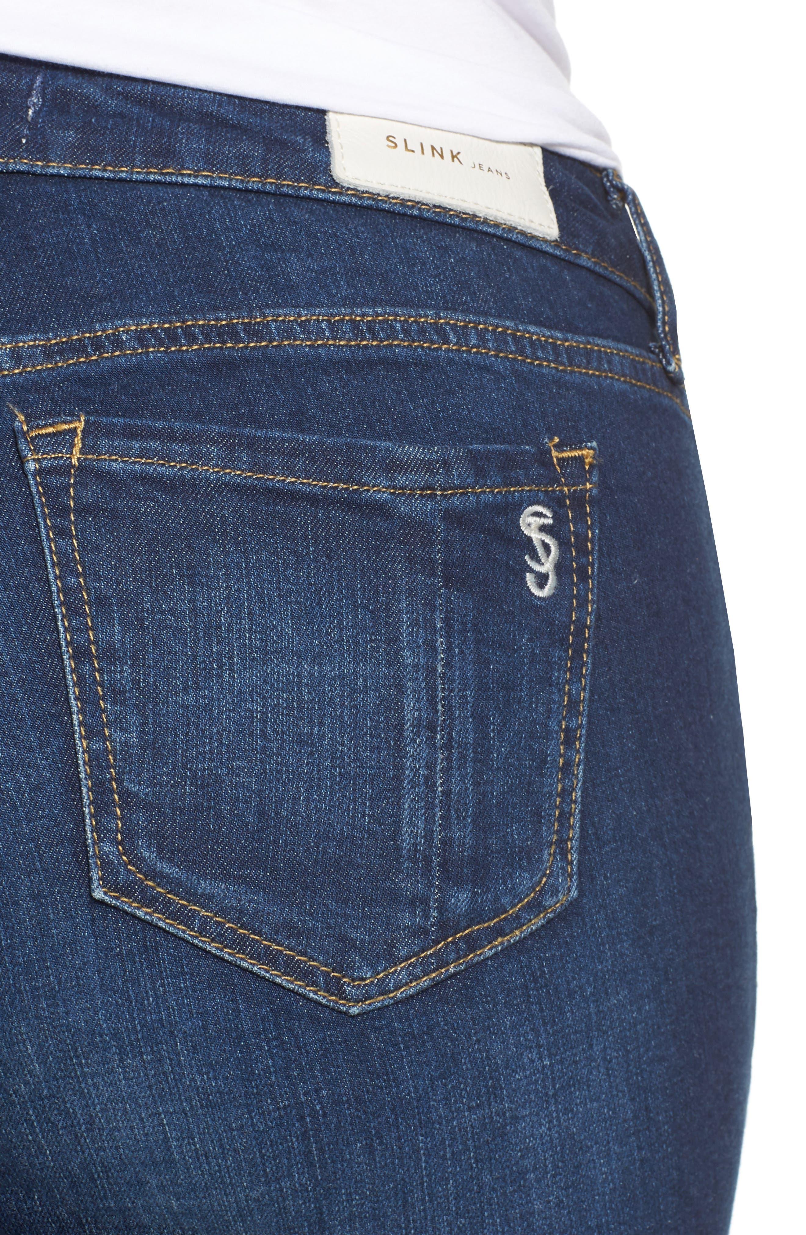 SLINK JEANS, Roll Crop Boyfriend Jeans, Alternate thumbnail 5, color, AMBER