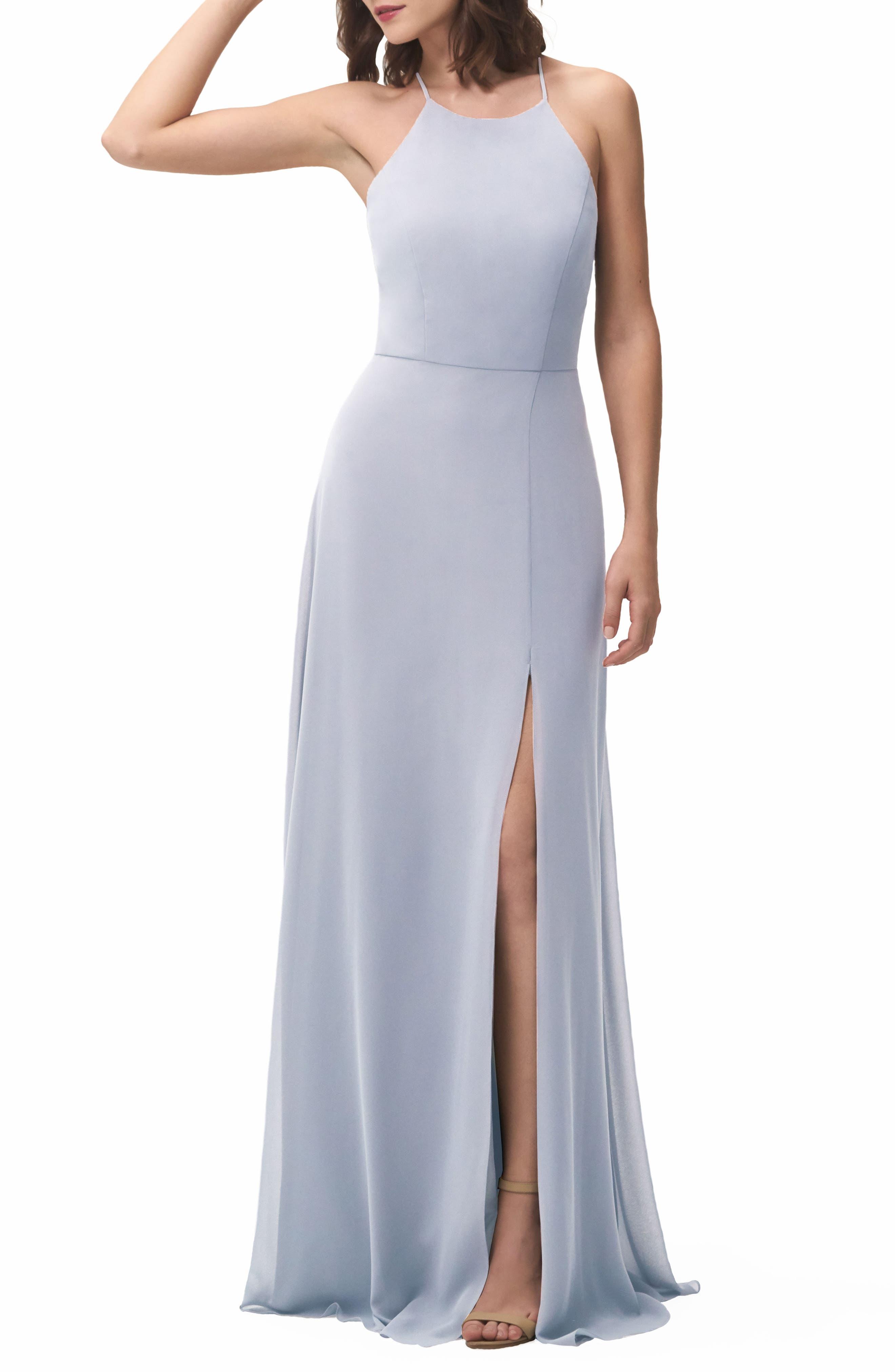 JENNY YOO, Kayla A-Line Halter Gown, Alternate thumbnail 6, color, WHISPER BLUE