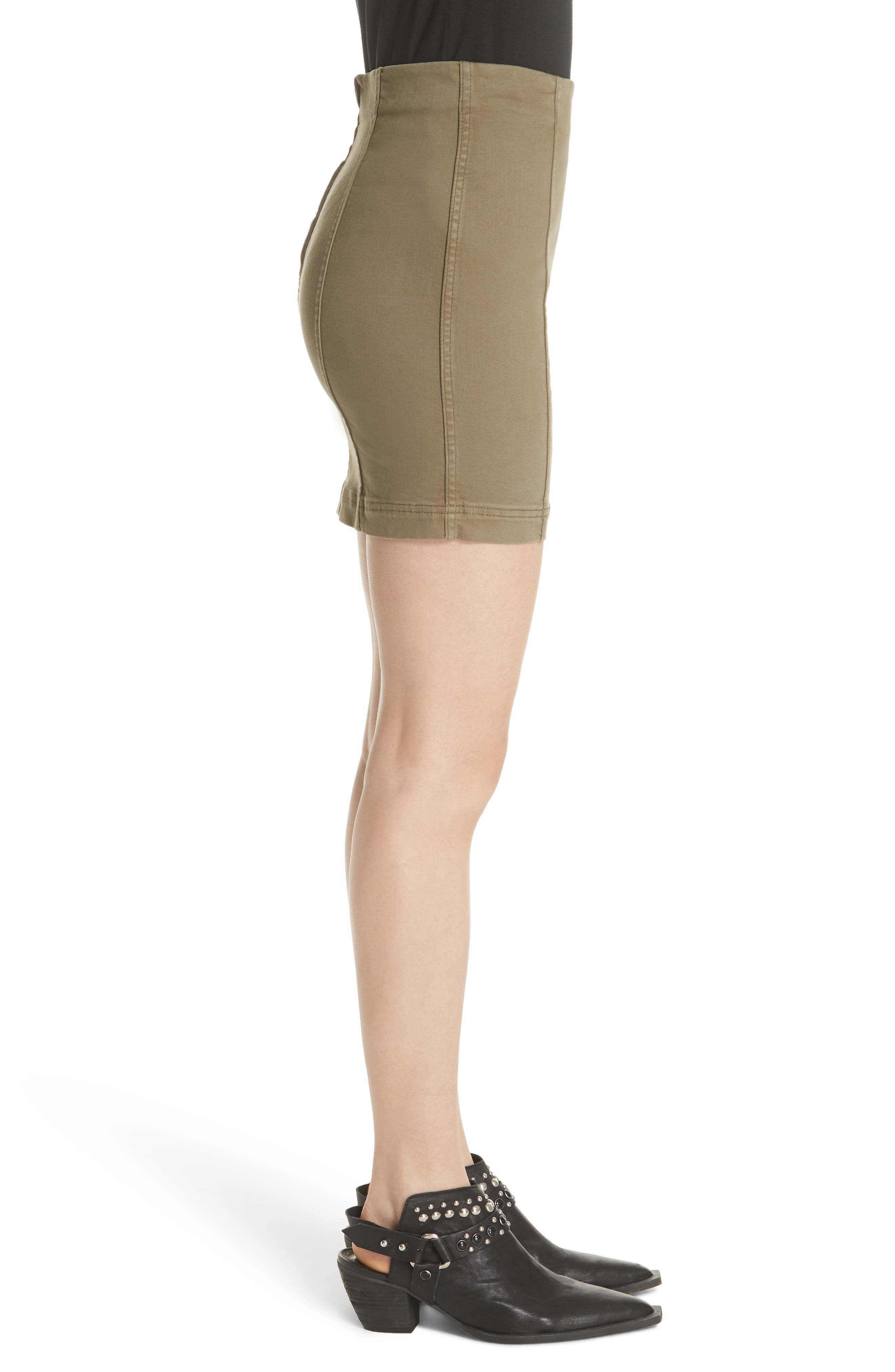 FREE PEOPLE, We the Free by Free People Modern Miniskirt, Alternate thumbnail 3, color, ARMY