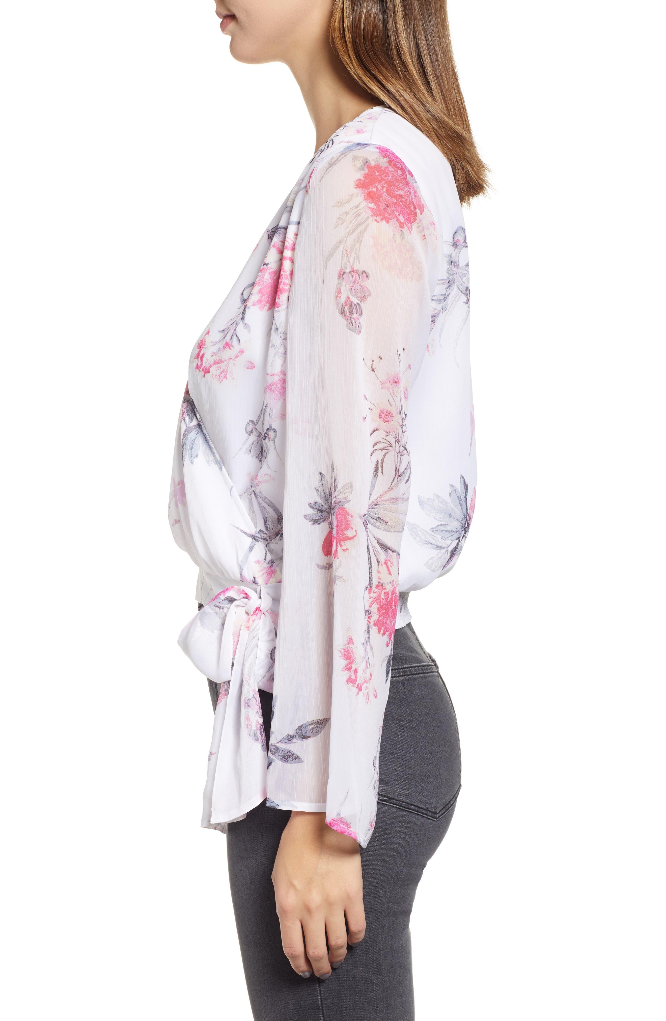 LEITH, Floral Faux Wrap Top, Alternate thumbnail 3, color, WHITE ROMANTIC BLOOMS