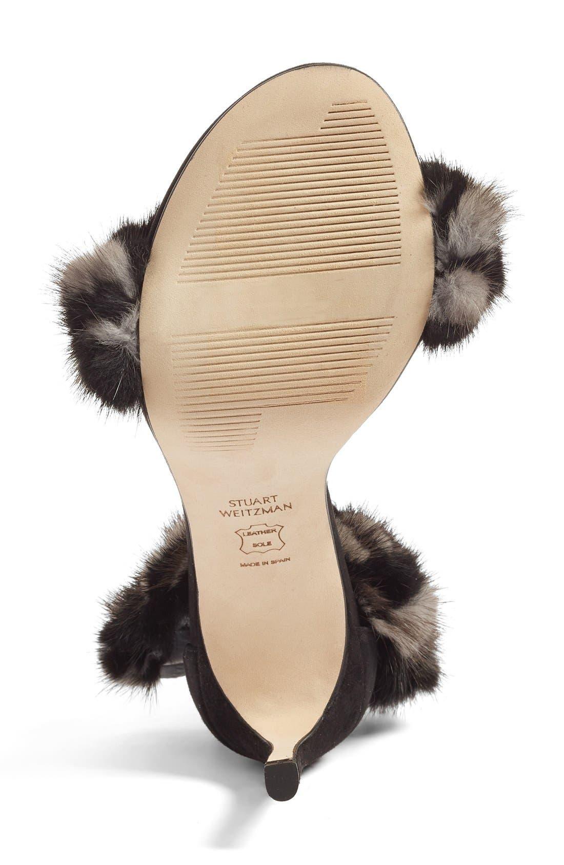 STUART WEITZMAN, 'Bunnylove' Genuine Mink Fur Ankle Strap Sandal, Alternate thumbnail 2, color, 980