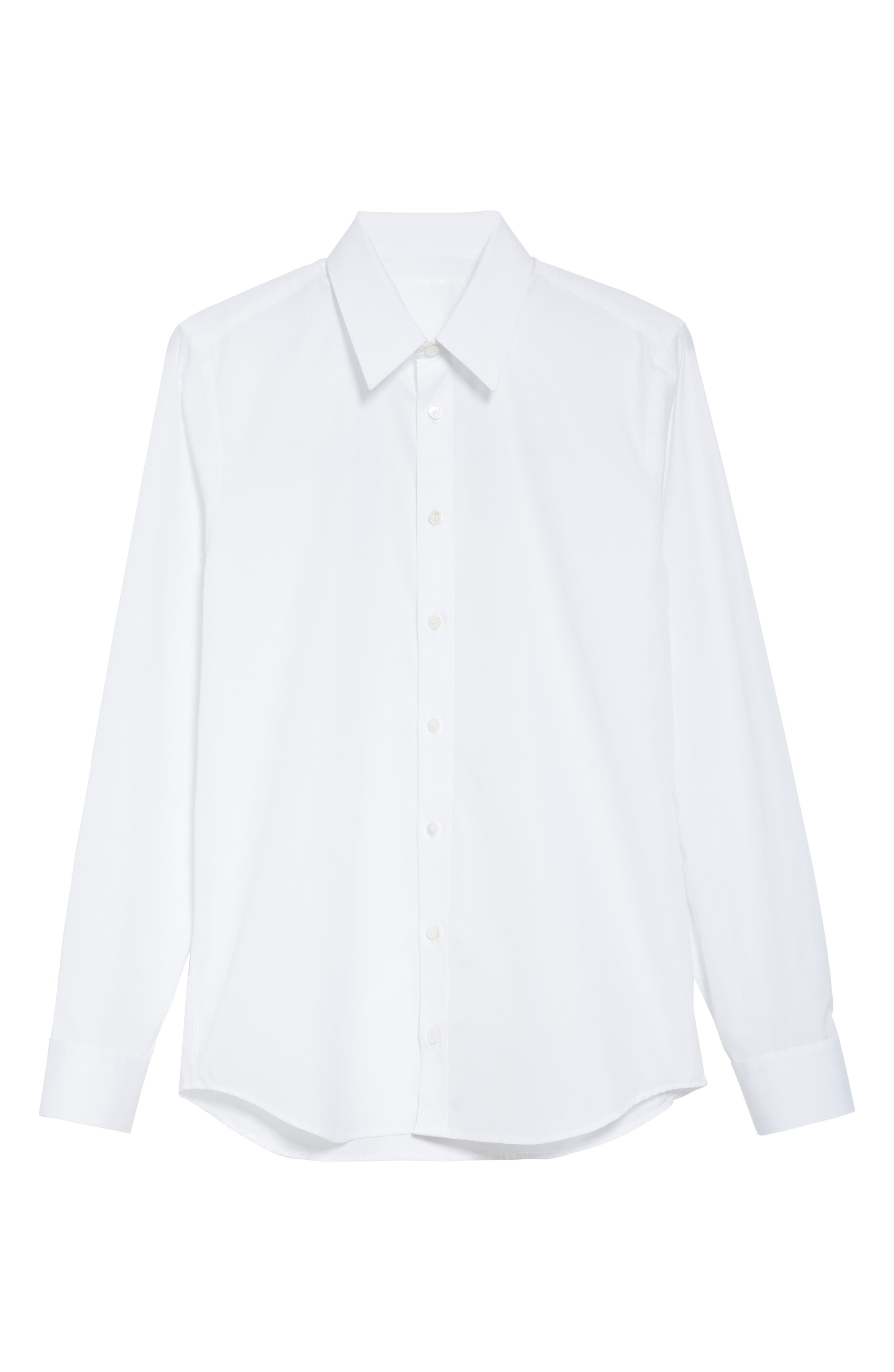 HELMUT LANG, Logo Print Dress Shirt, Alternate thumbnail 6, color, WHITE/SILVER
