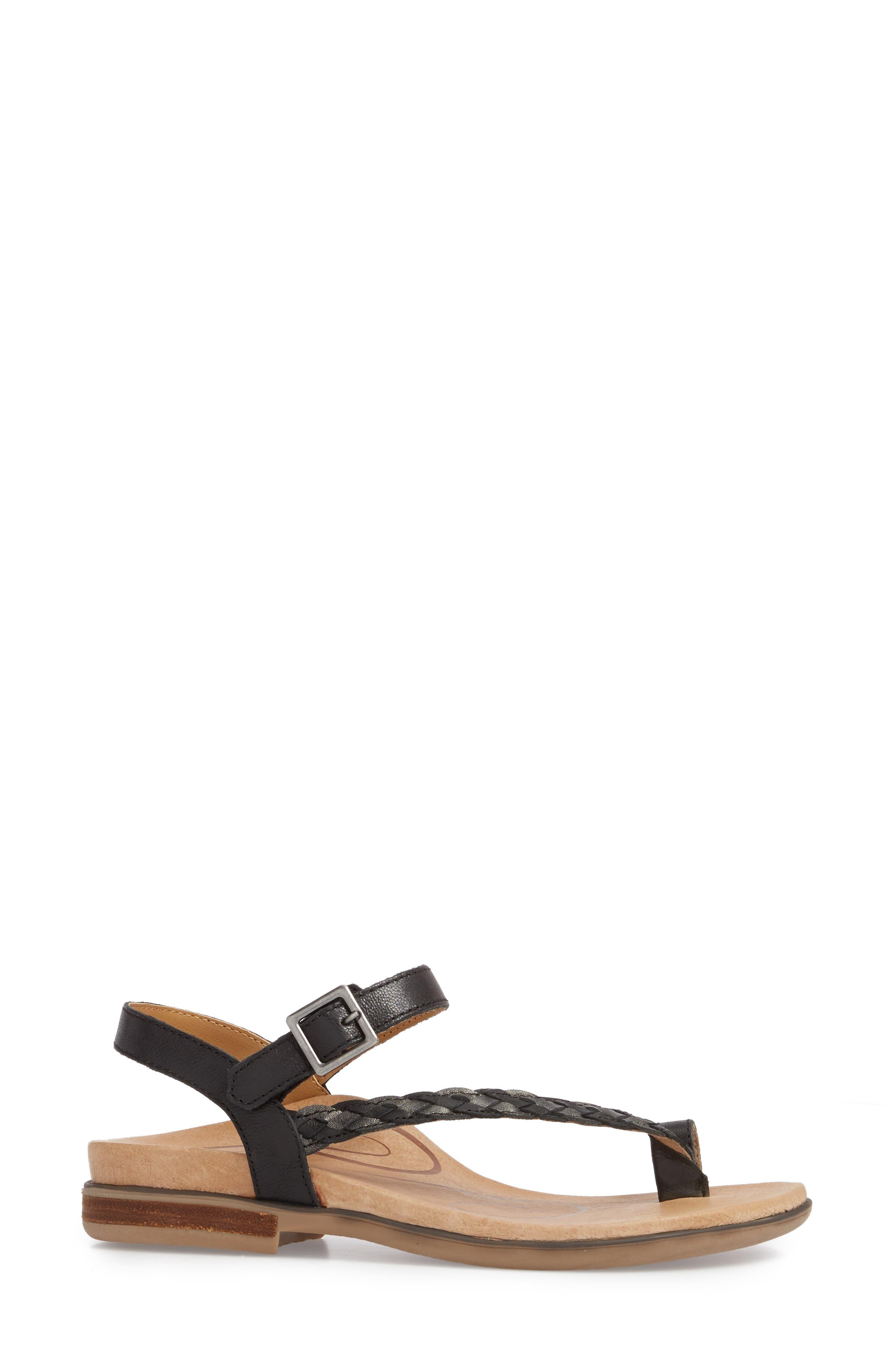 AETREX, Evie Braided Strap Sandal, Alternate thumbnail 3, color, BLACK LEATHER