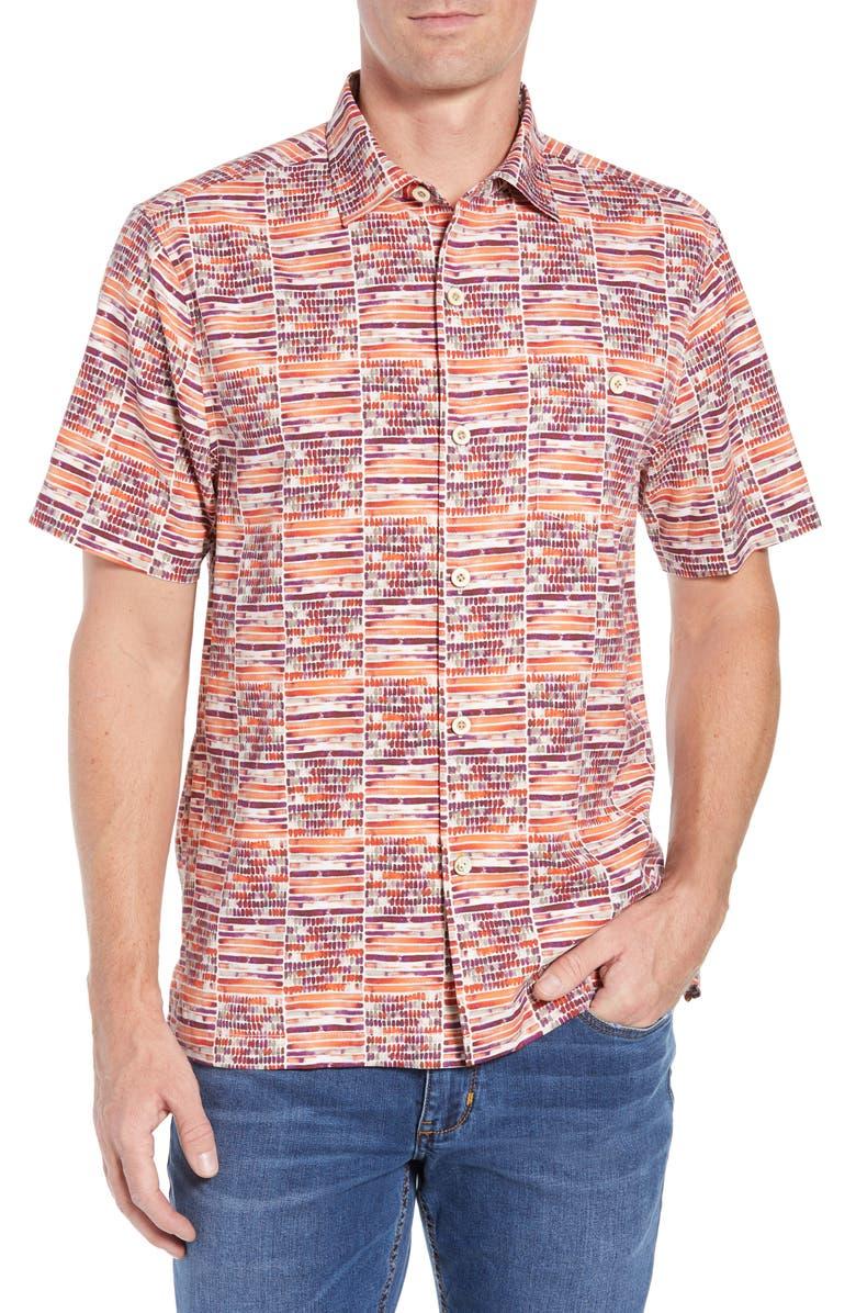 Rio Geo Short Sleeve Silk Blend Sport Shirt