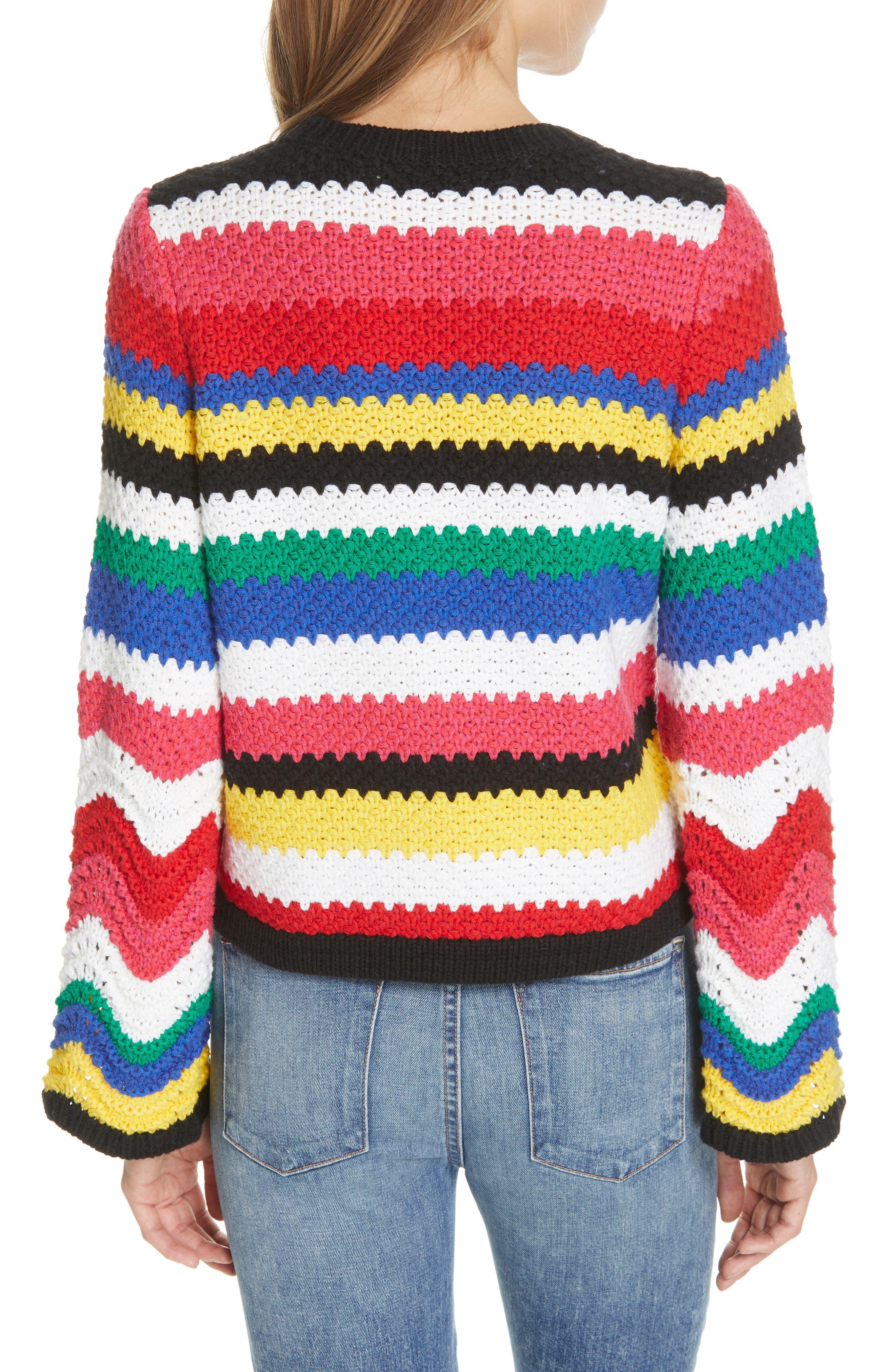 ALICE + OLIVIA, Alivia Stripe Bell Sleeve Cotton Blend Sweater, Alternate thumbnail 2, color, MULTI