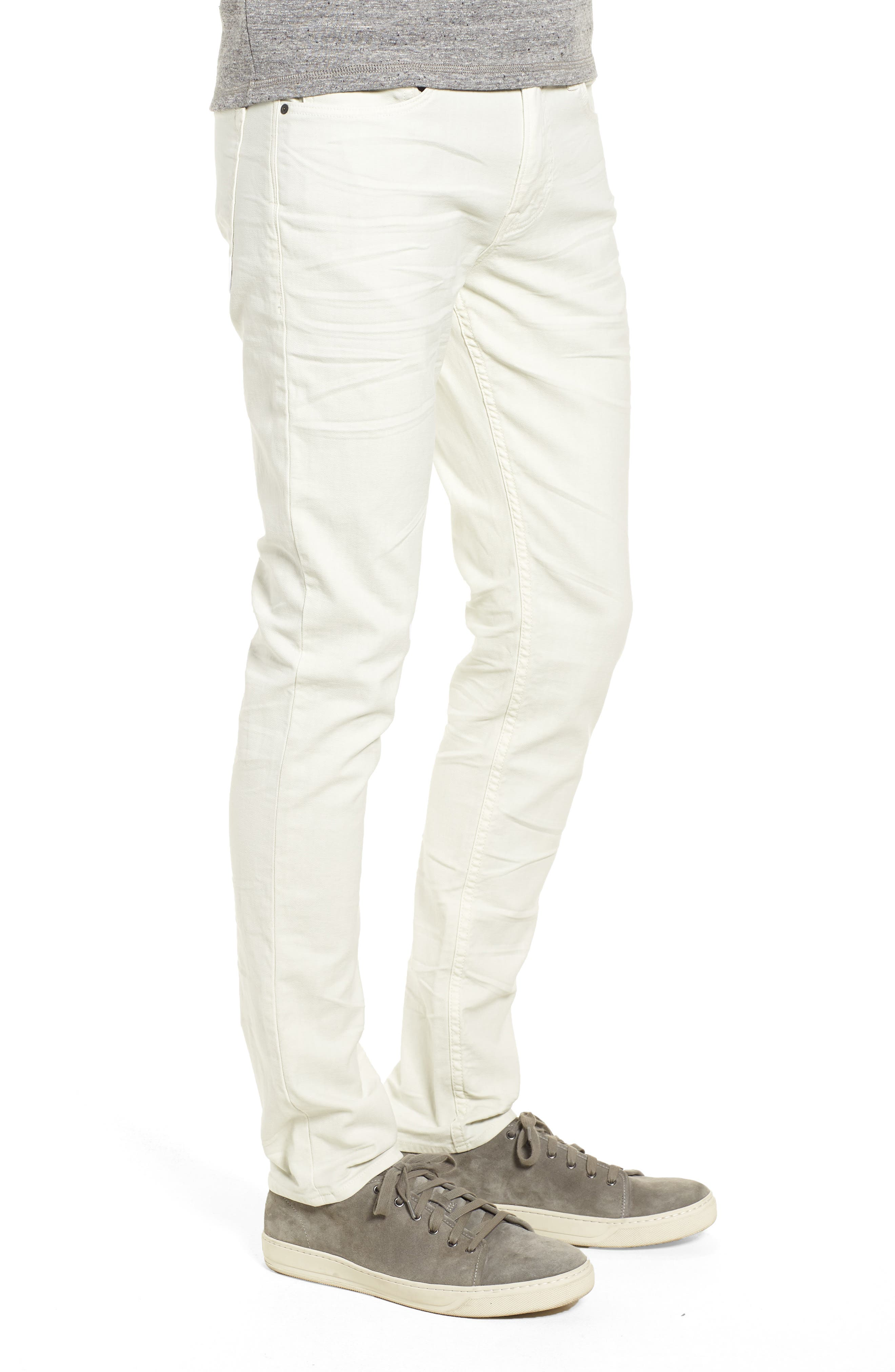 HUDSON JEANS, Axl Skinny Fit Jeans, Alternate thumbnail 3, color, DIRTY WHITE