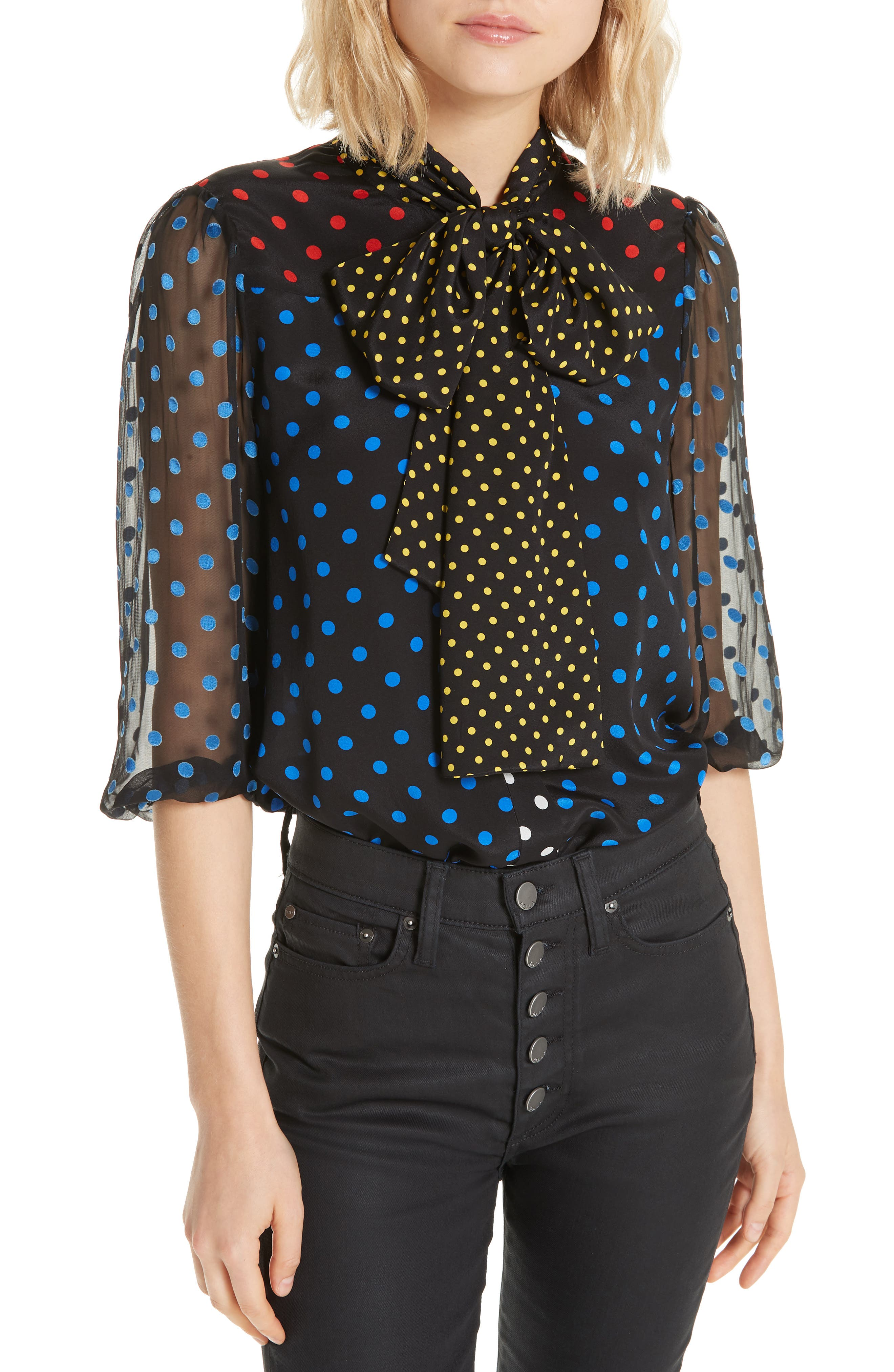 ALICE + OLIVIA, Jeannie Bow Neck Blouse, Main thumbnail 1, color, 001
