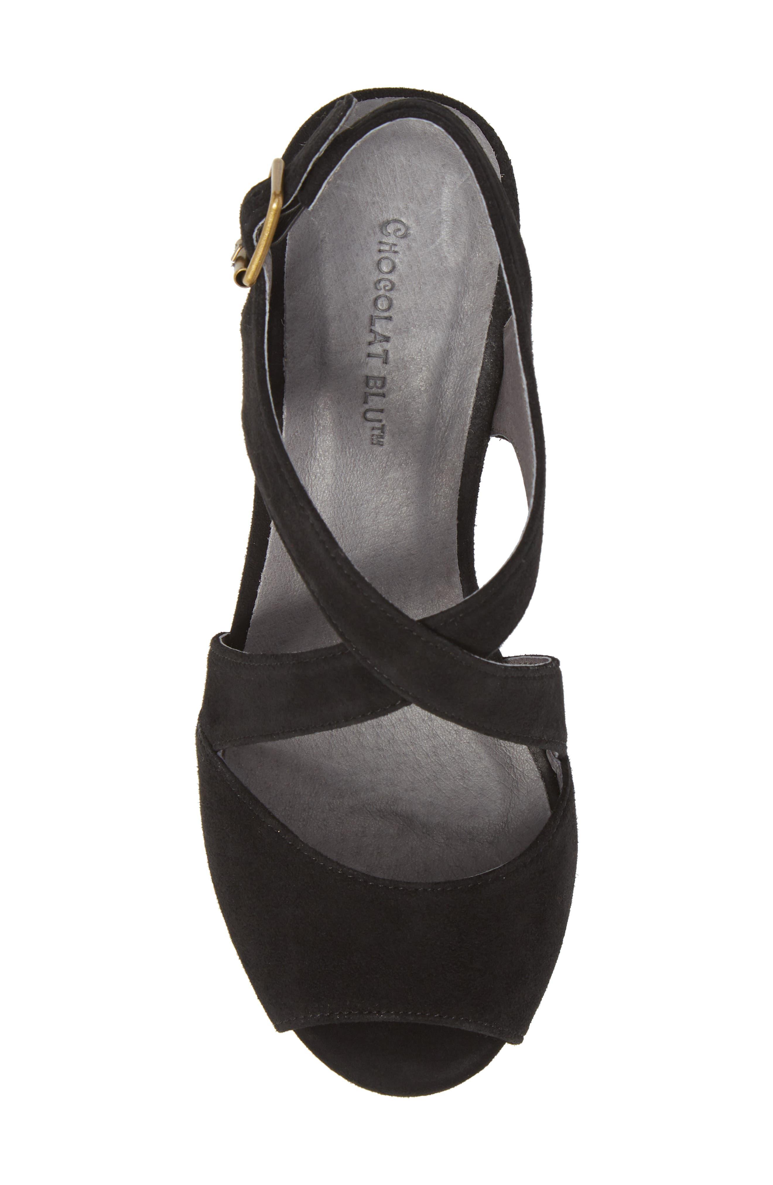 CHOCOLAT BLU, Winnie Wedge Sandal, Alternate thumbnail 5, color, BLACK SUEDE